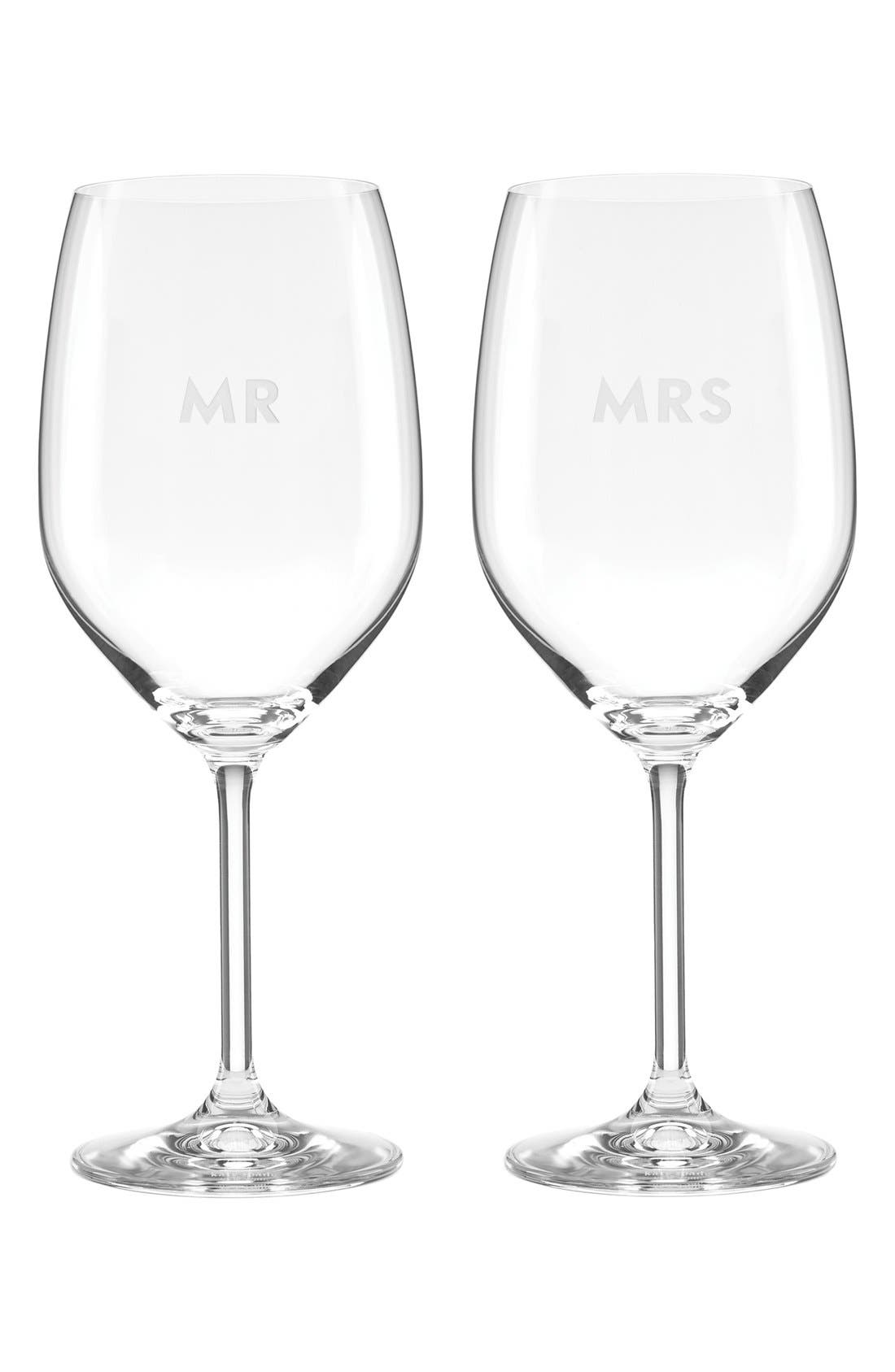 darling point - mr & mrs set of 2 wine glasses,                         Main,                         color, White
