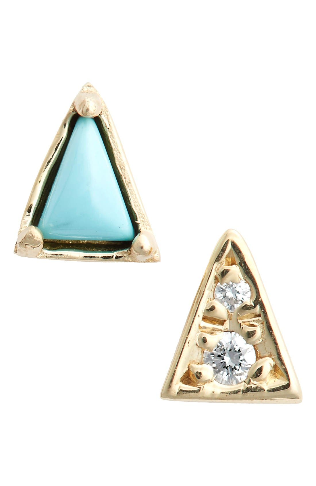 Mismatch Triangle Turquoise Stud Earrings,                             Main thumbnail 1, color,                             Yellow Gold