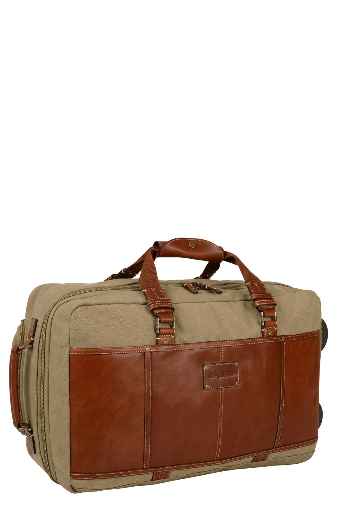 TOMMY BAHAMA Canvas & Leather Wheeled Suitcase