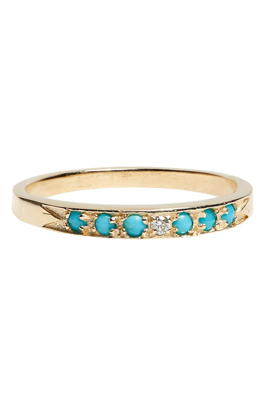 MOCIUN Moon & Stars Single Band Turquoise & Diamond Ring