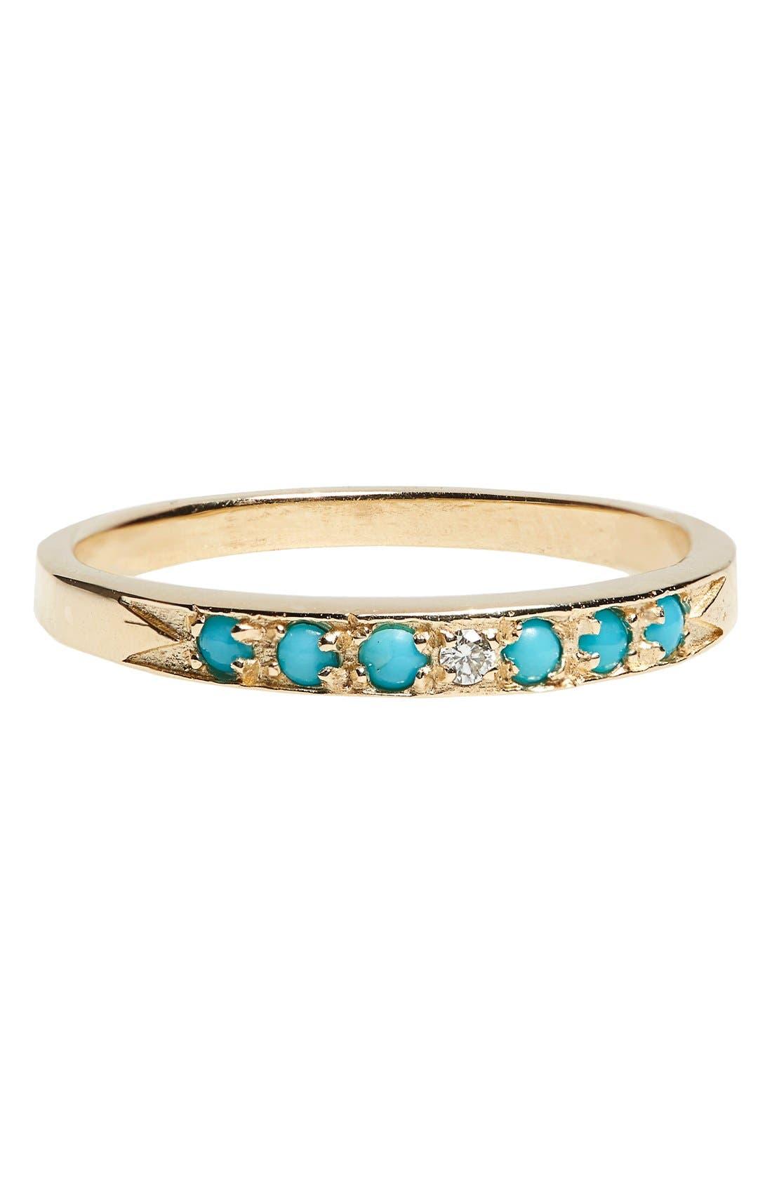 'Moon & Stars' Single Band Turquoise & Diamond Ring,                             Main thumbnail 1, color,                             Yellow Gold