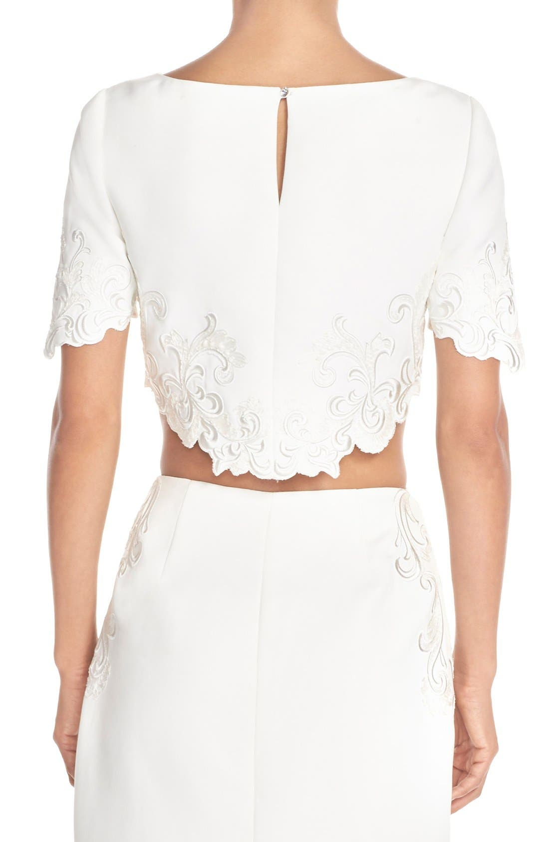 Alternate Image 2  - Ted Baker London 'Capris' Embroidered Crop Top