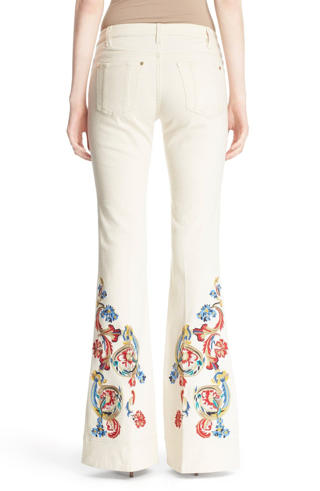 'Ryley' Embroidered Flare Jeans,                             Alternate thumbnail 2, color,                             Natural/ Multi