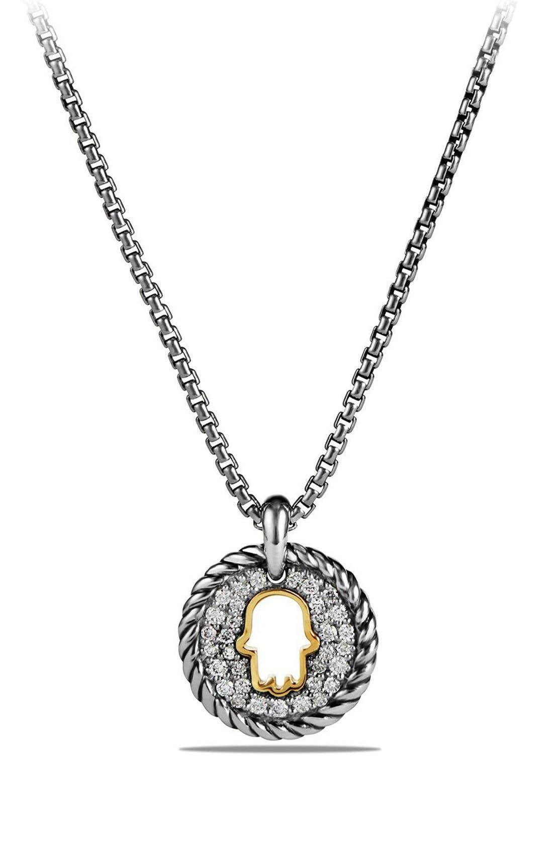 David Yurman 'Cable Collectibles' Hamsa Charm Necklace with Diamonds & 18K Gold