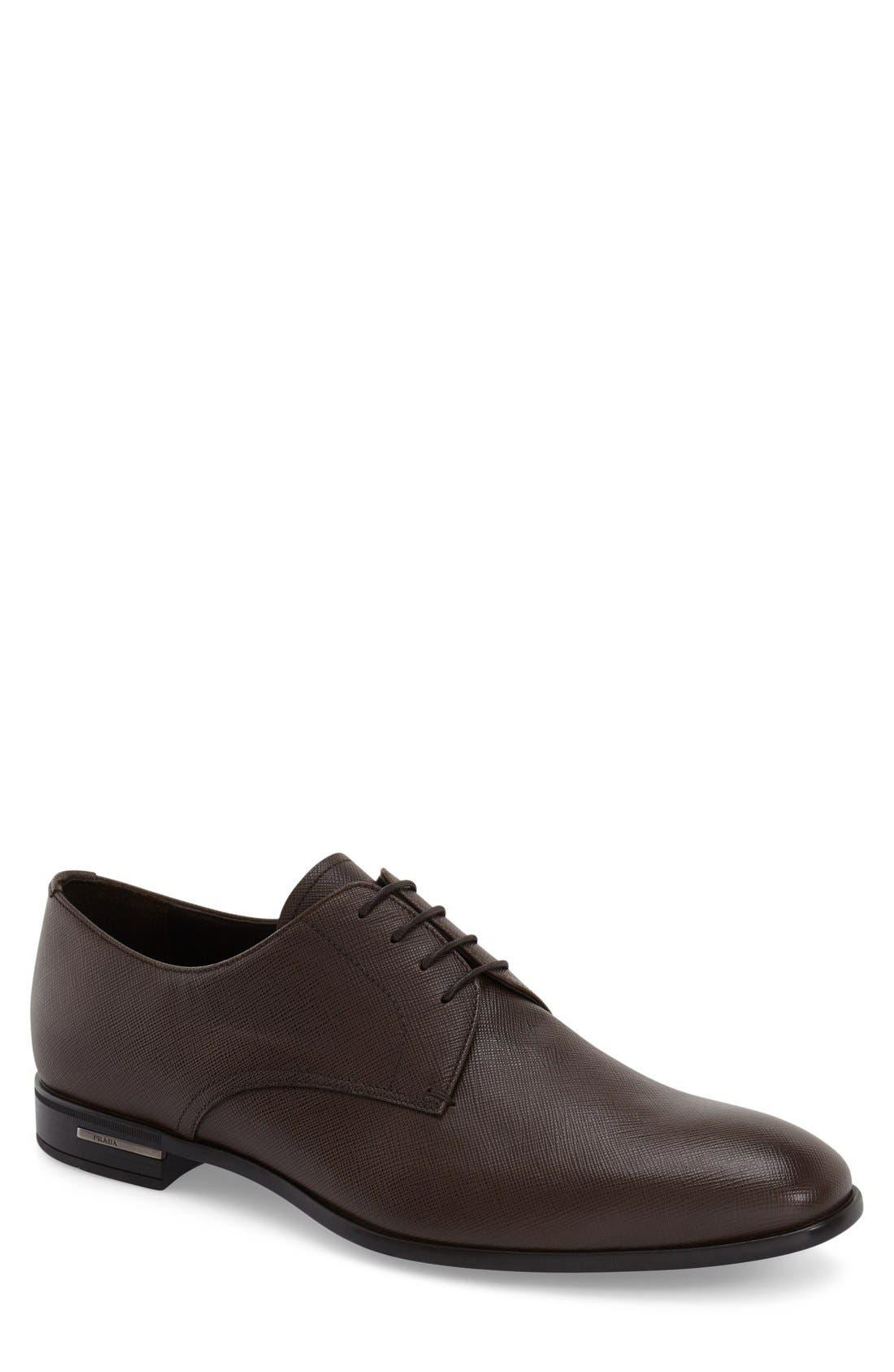 Plain Toe Derby,                         Main,                         color, Brown Leather