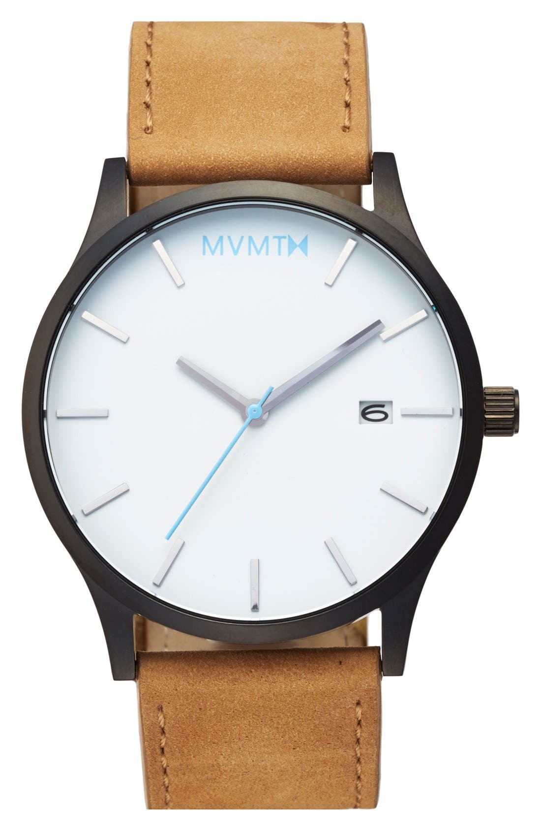 Leather Strap Watch, 45mm,                         Main,                         color, Tan/ White