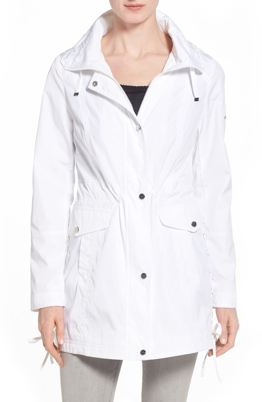 Windbreaker with Lace-Up Sides,                         Main,                         color, White
