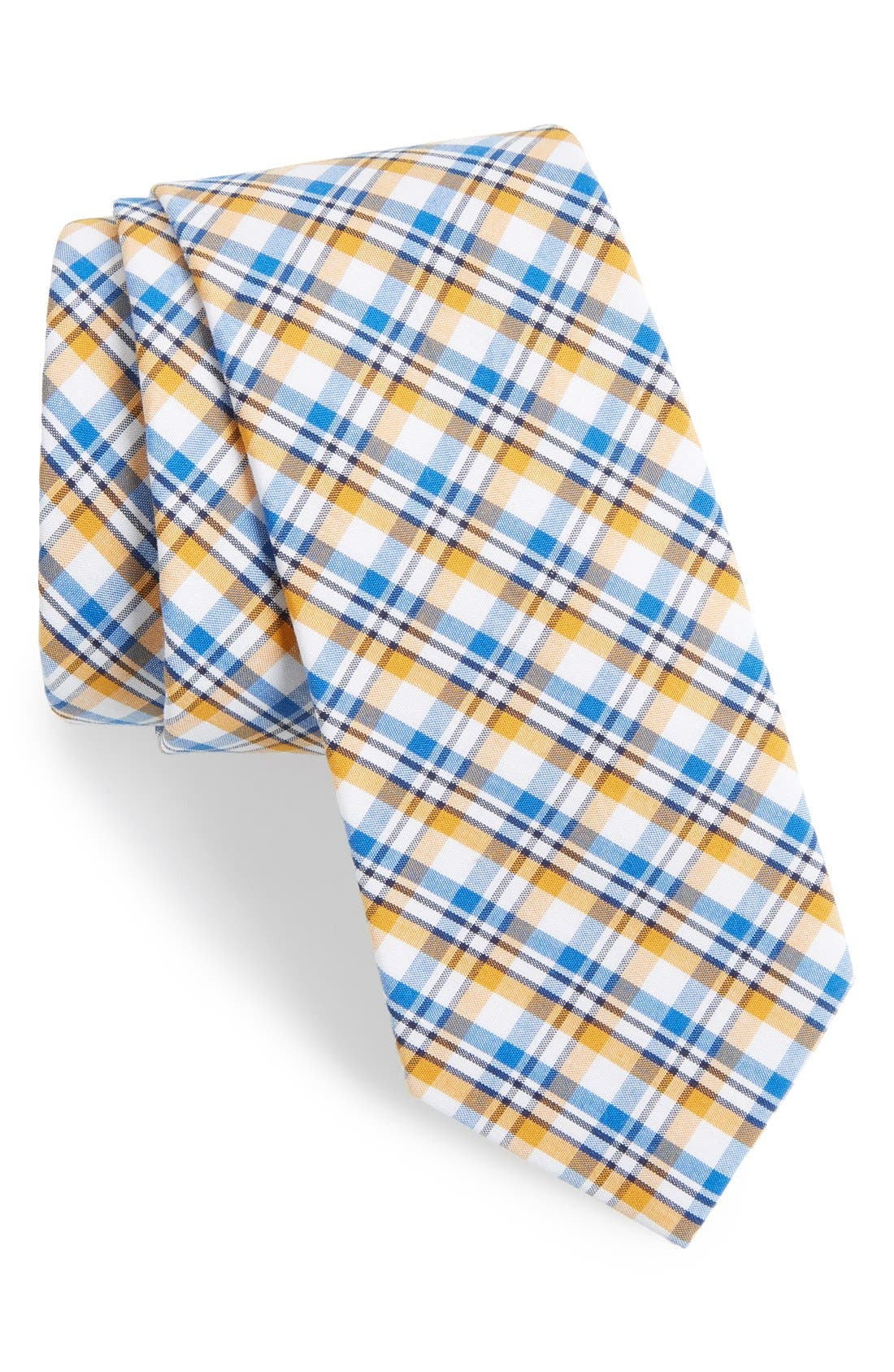 'Boomer' Plaid Cotton Tie,                         Main,                         color, Yellow