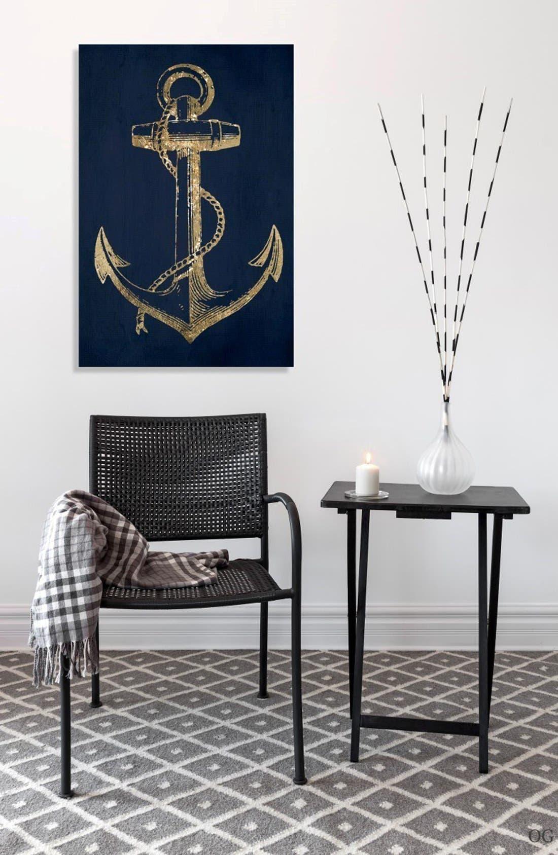 'Gold Anchor' Canvas Wall Art,                             Alternate thumbnail 2, color,                             Black