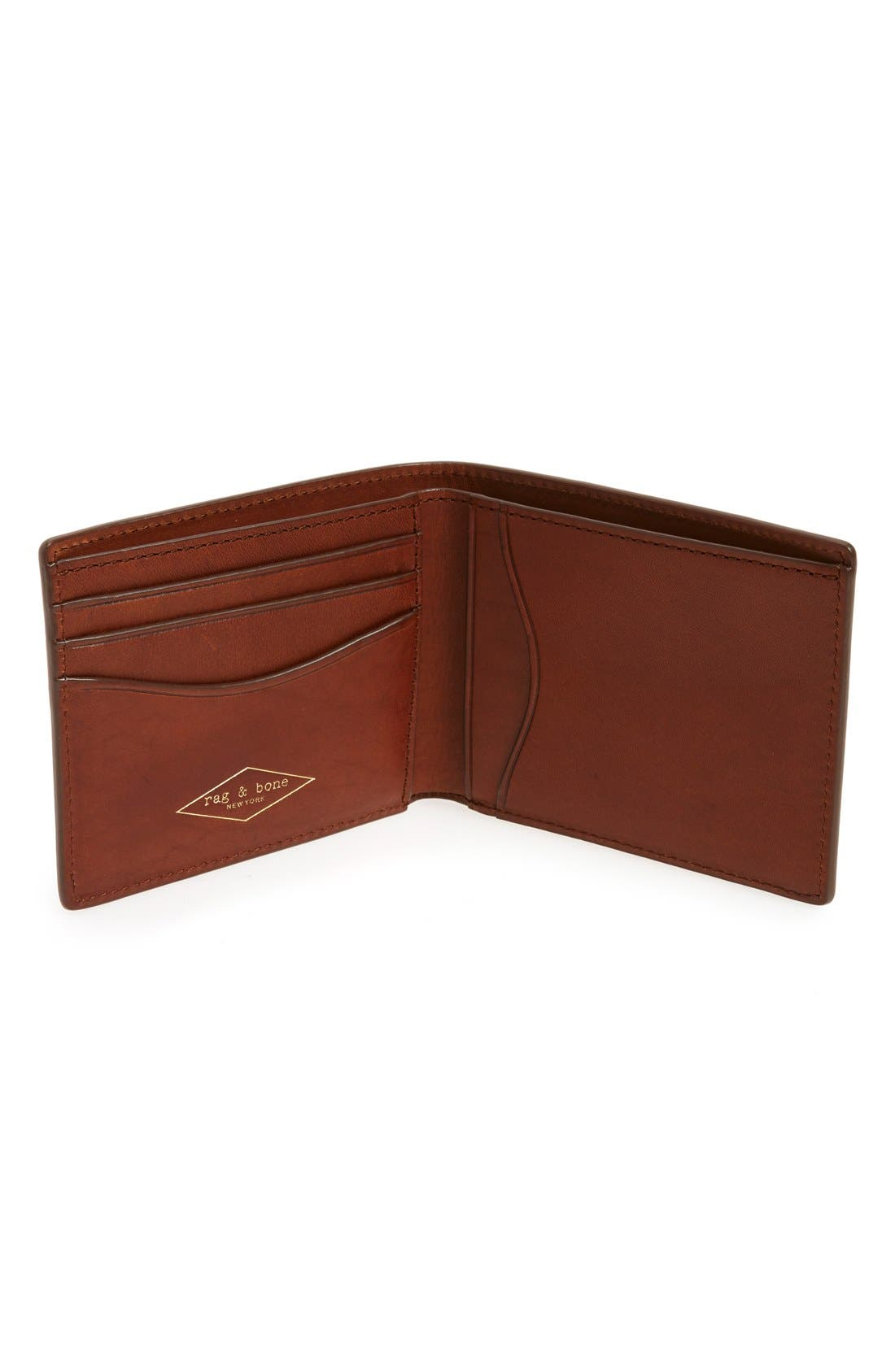 Hampshire Leather Bifold Wallet,                             Alternate thumbnail 2, color,                             Brown