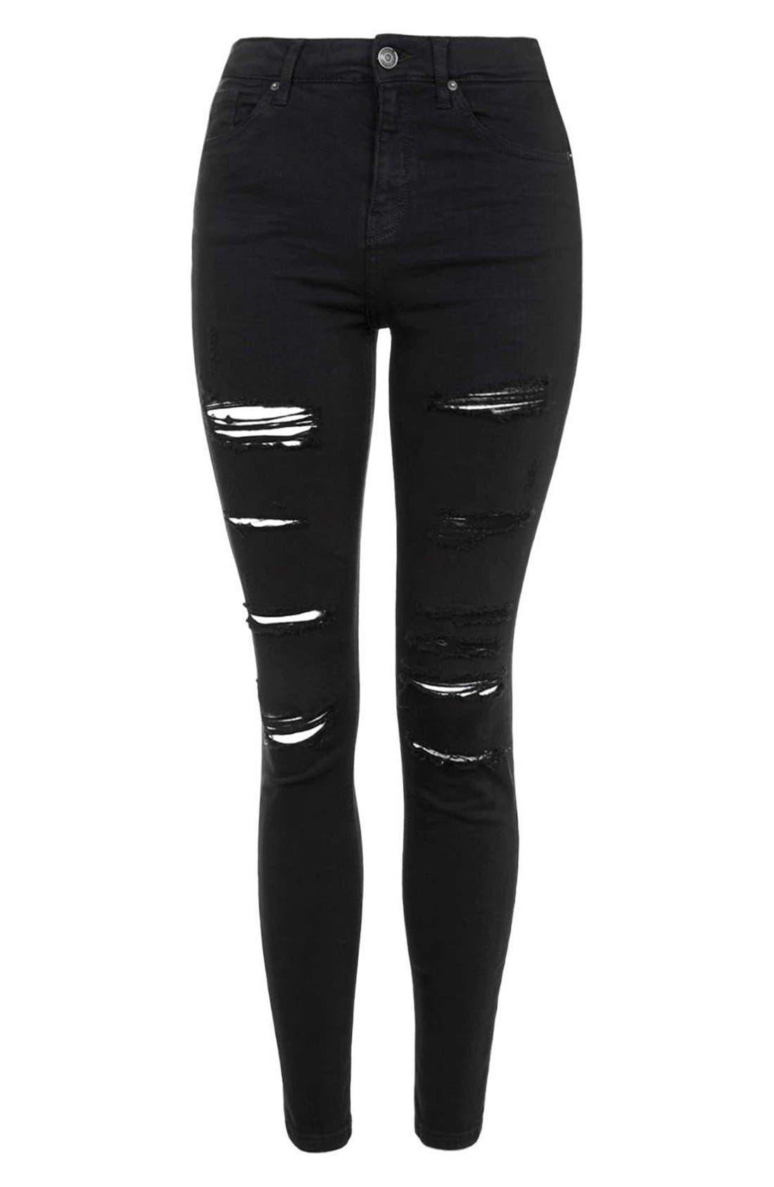 Alternate Image 4  - Topshop Moto 'Jamie' Ripped Skinny Jeans (Black) (Petite)