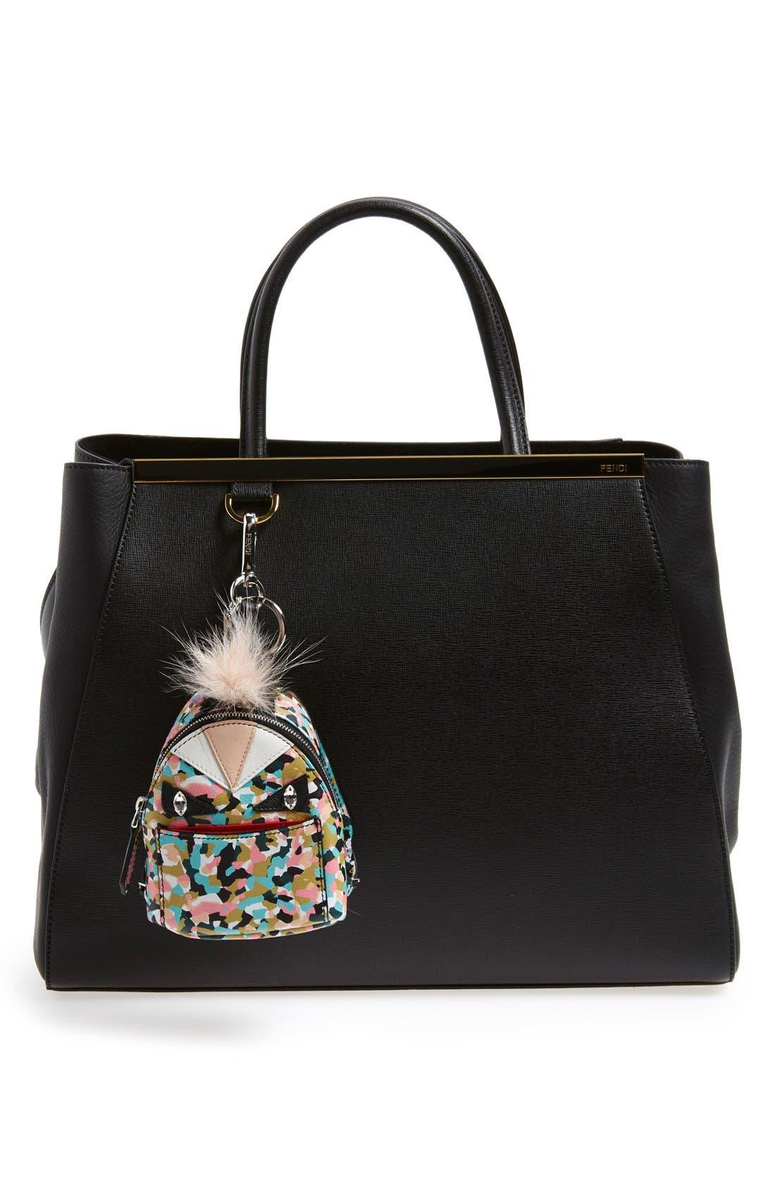 'Granite' Genuine Fox & Nutria Fur Trim Backpack Bag Charm,                             Alternate thumbnail 3, color,                             Saphire