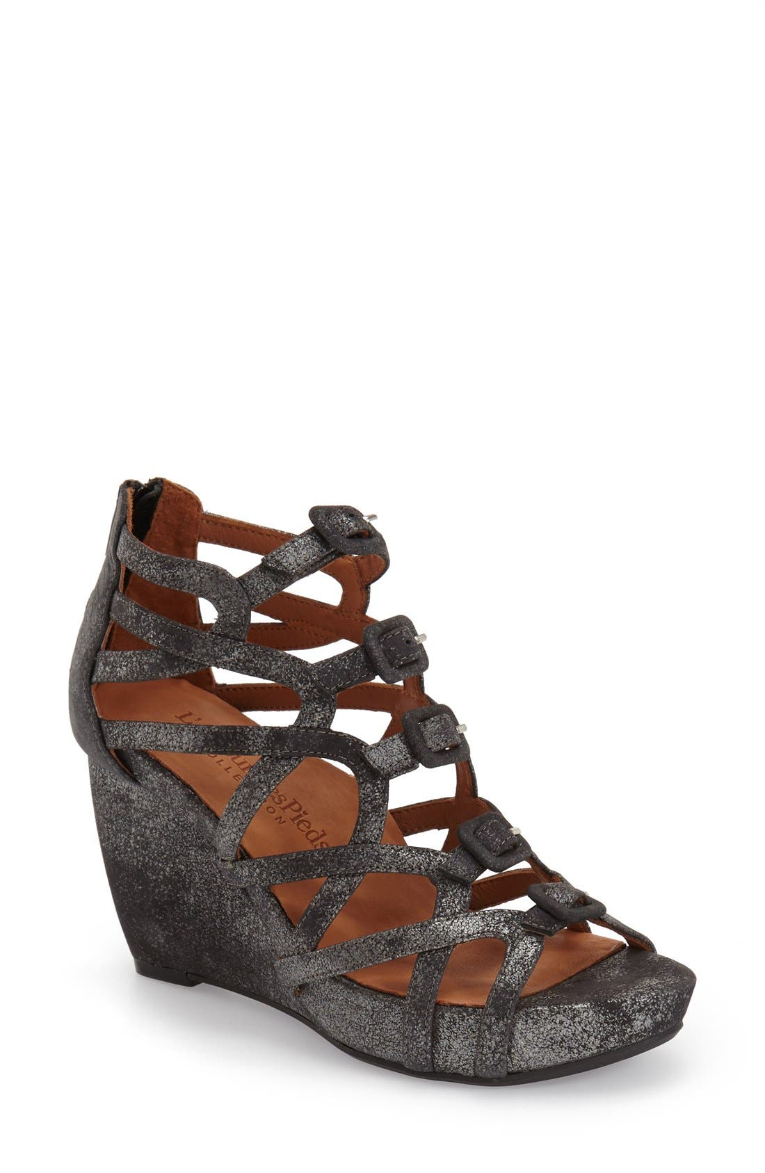 Ivanna' Gladiator Wedge Sandal,                             Main thumbnail 1, color,                             Graphite Leather
