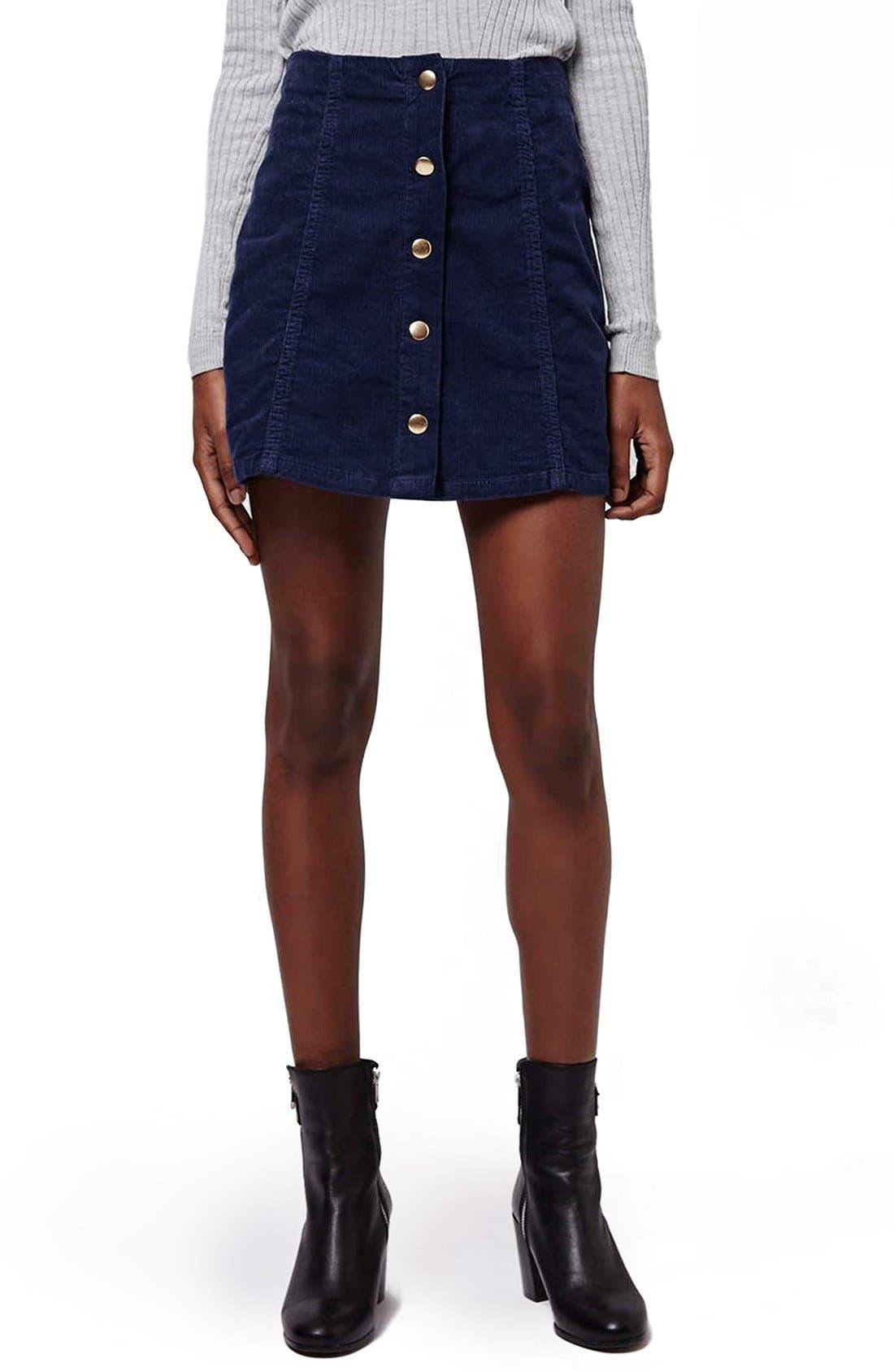 Alternate Image 1 Selected - Topshop A-Line Corduroy Skirt