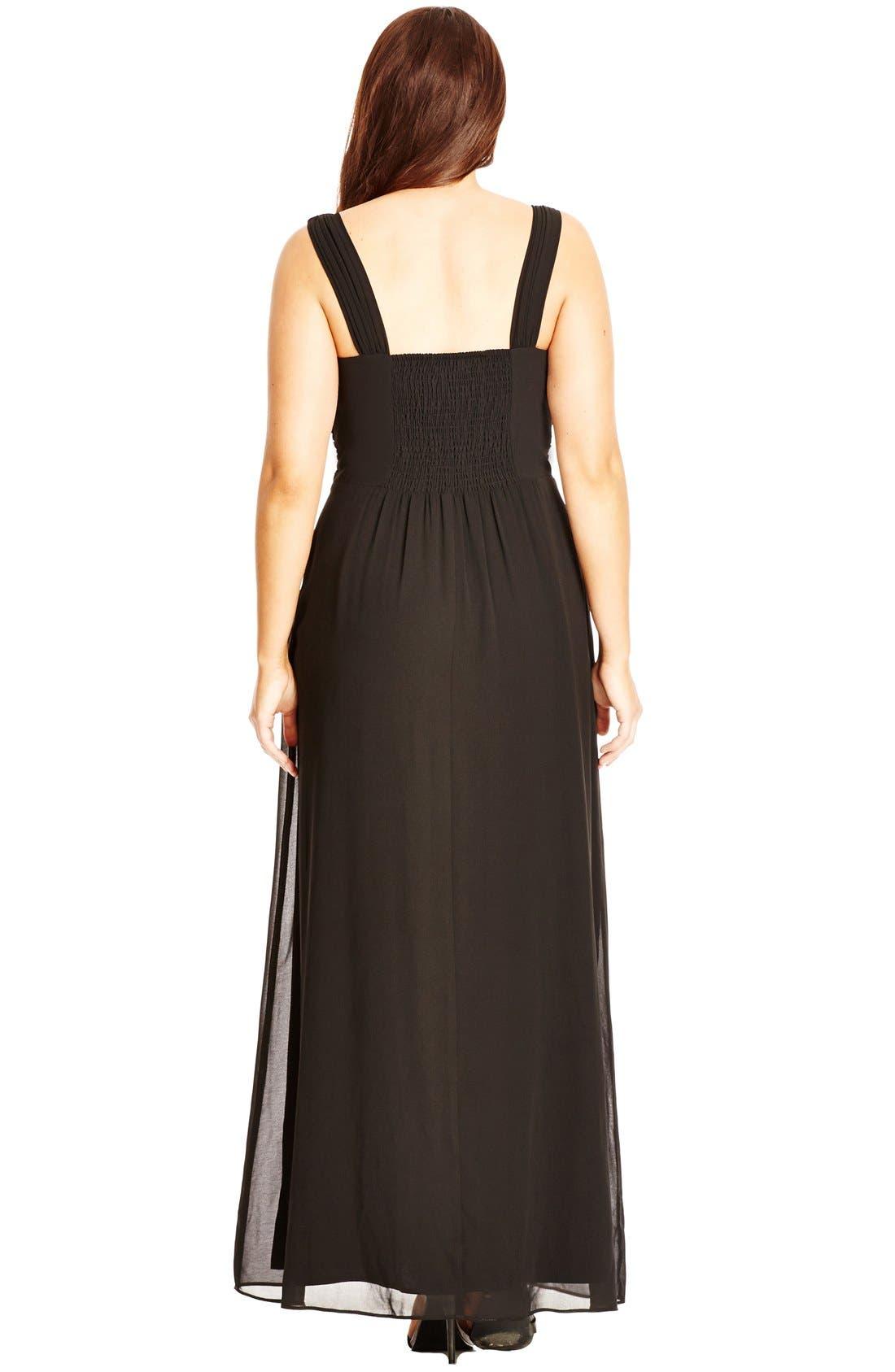 'Elegant Sparkle' Embellished Maxi Dress,                             Alternate thumbnail 3, color,                             Black