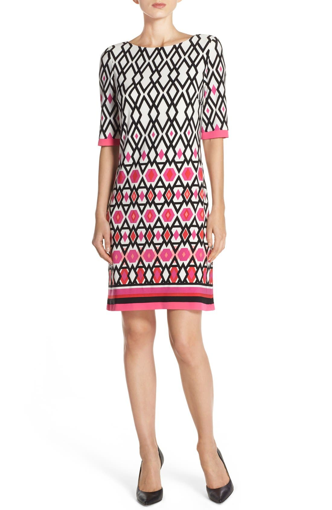 Print Jersey Sheath Dress,                             Alternate thumbnail 4, color,                             Pink Print