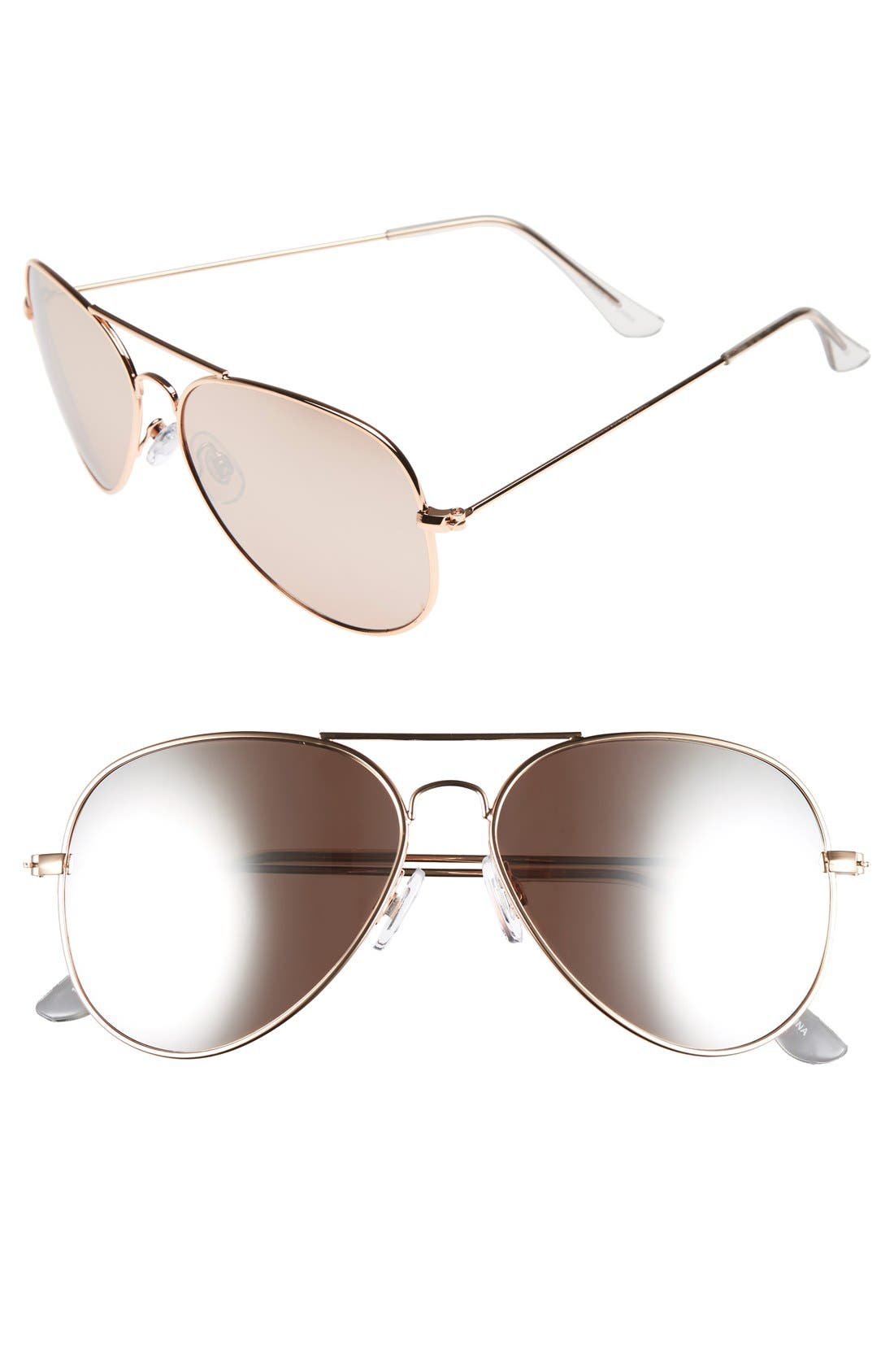 Mirrored Aviator 57mm Sunglasses,                         Main,                         color, Rose Gold