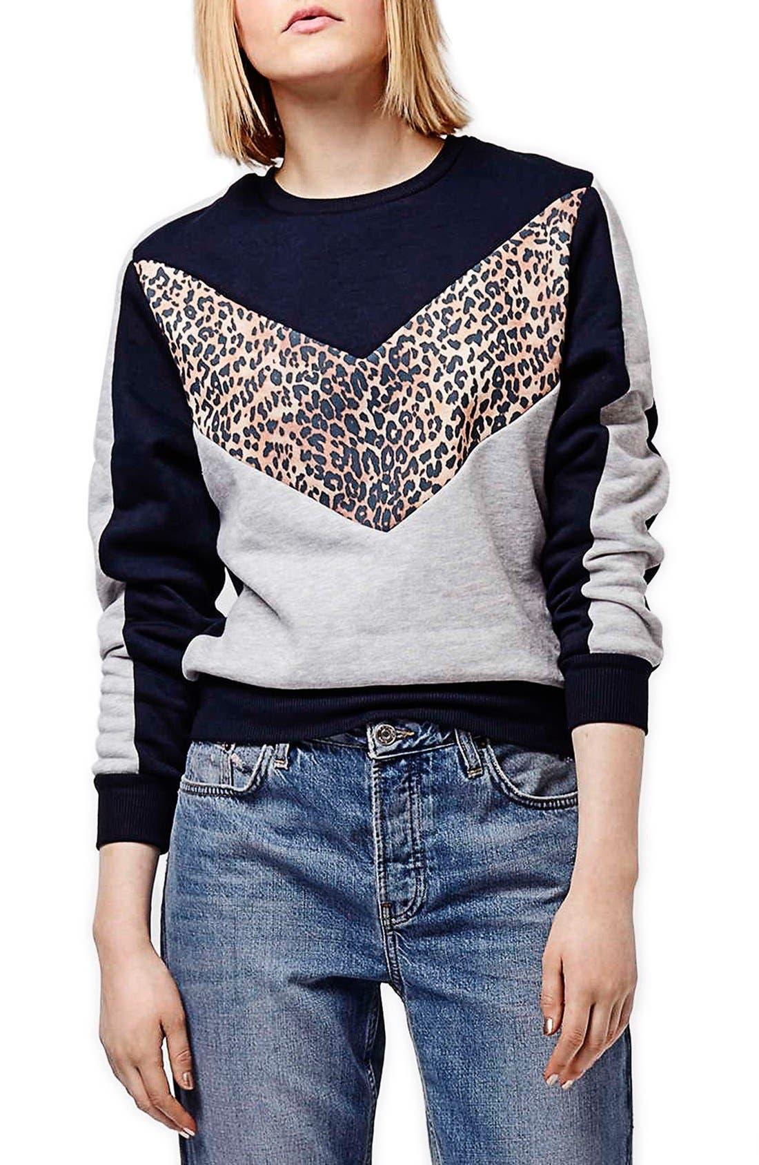 Main Image - Topshop Leopard Print Colorblock Sweatshirt (Regular & Petite)