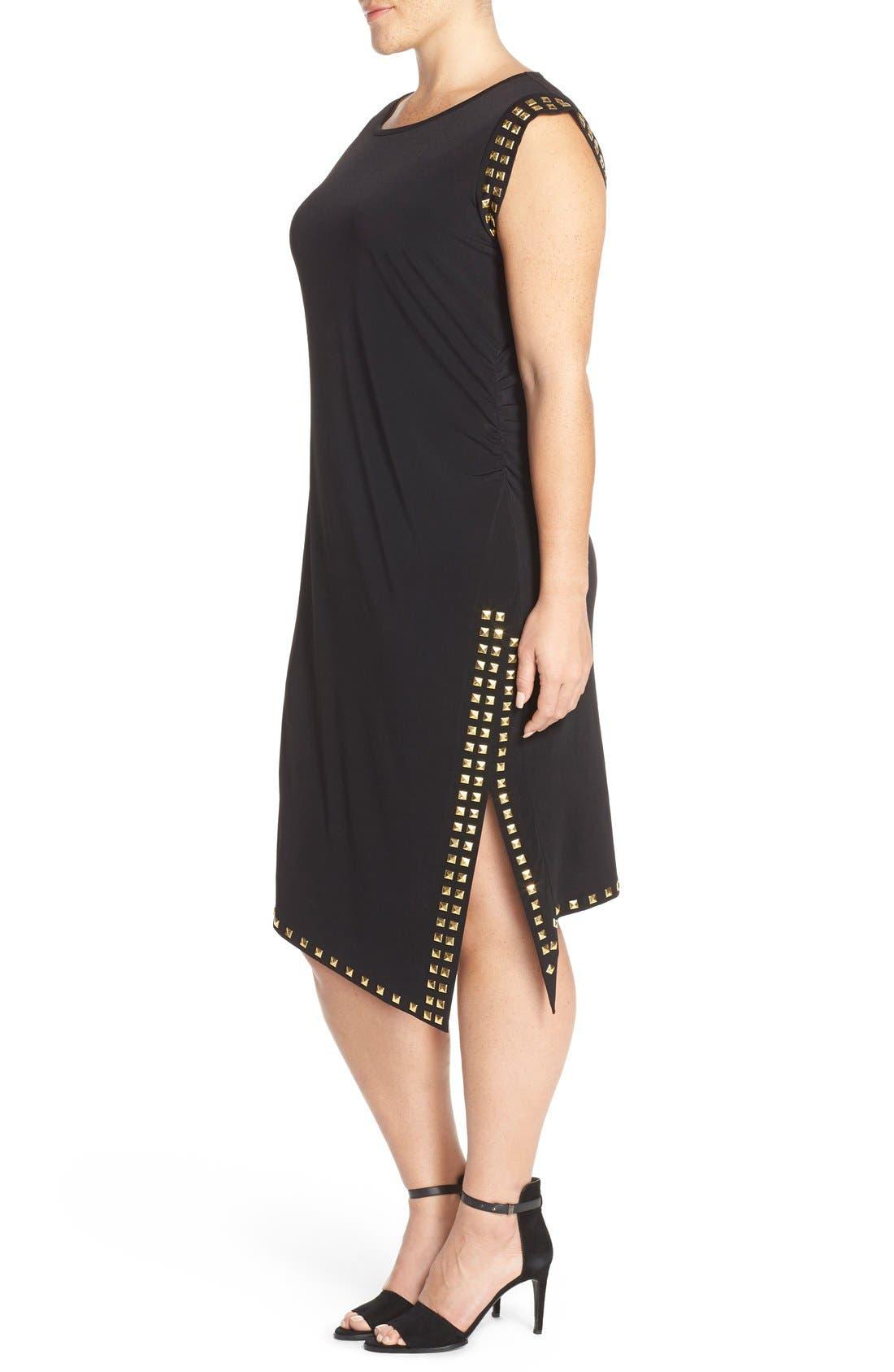 Studded Asymmetrical Shift Dress,                             Alternate thumbnail 3, color,                             Black/ Gold