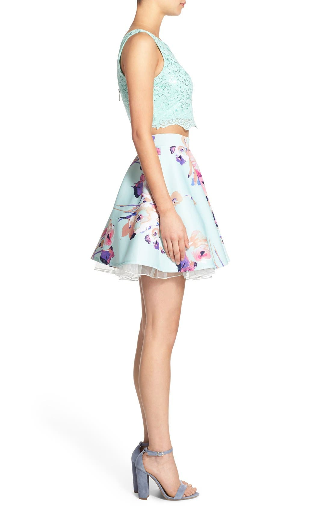 Alternate Image 3  - Way-In Lace Bodice Floral Print Two-Piece Dress