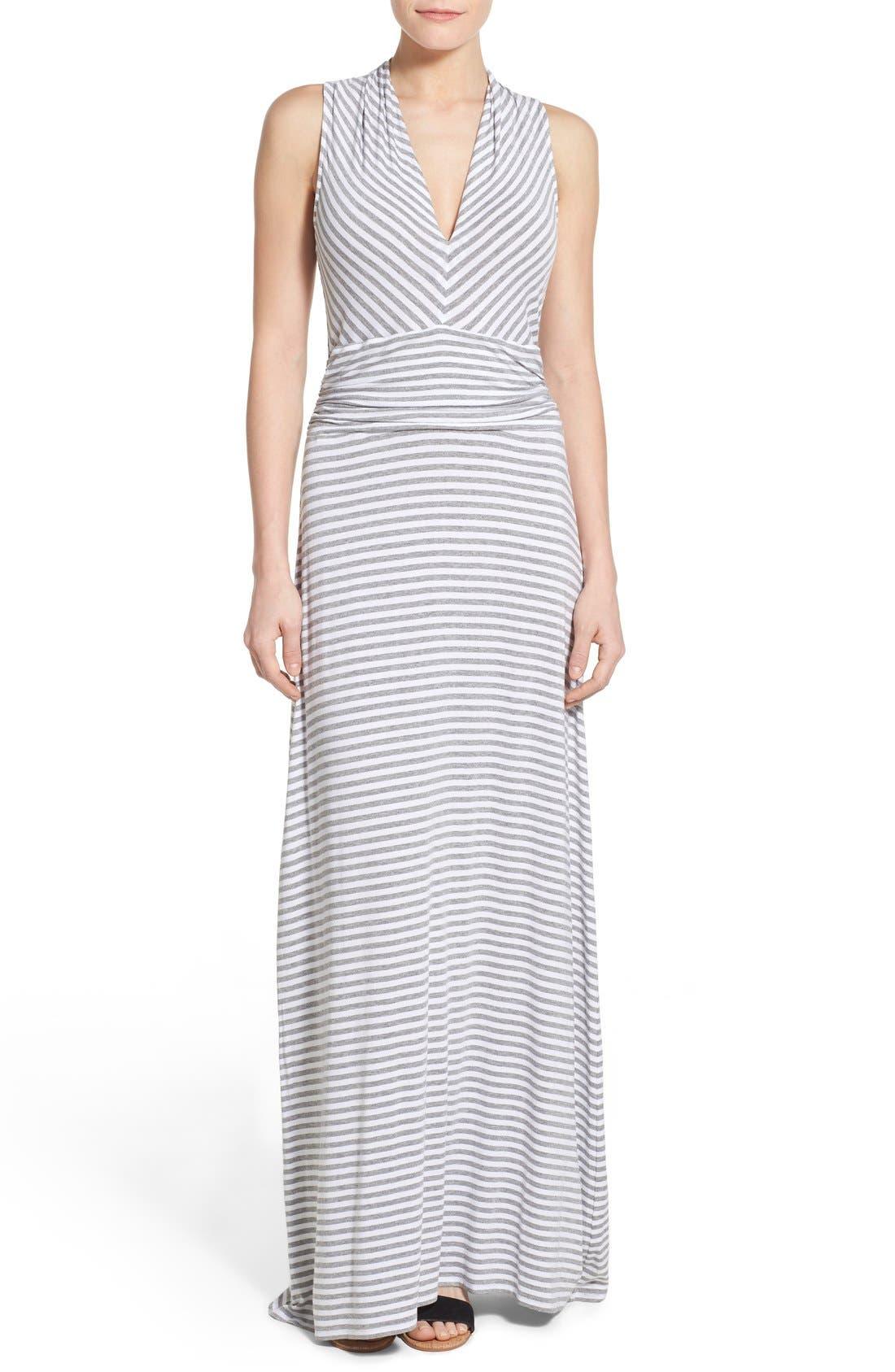 Stripe Jersey Cutaway Shoulder Maxi Dress,                         Main,                         color, Light Heather Grey