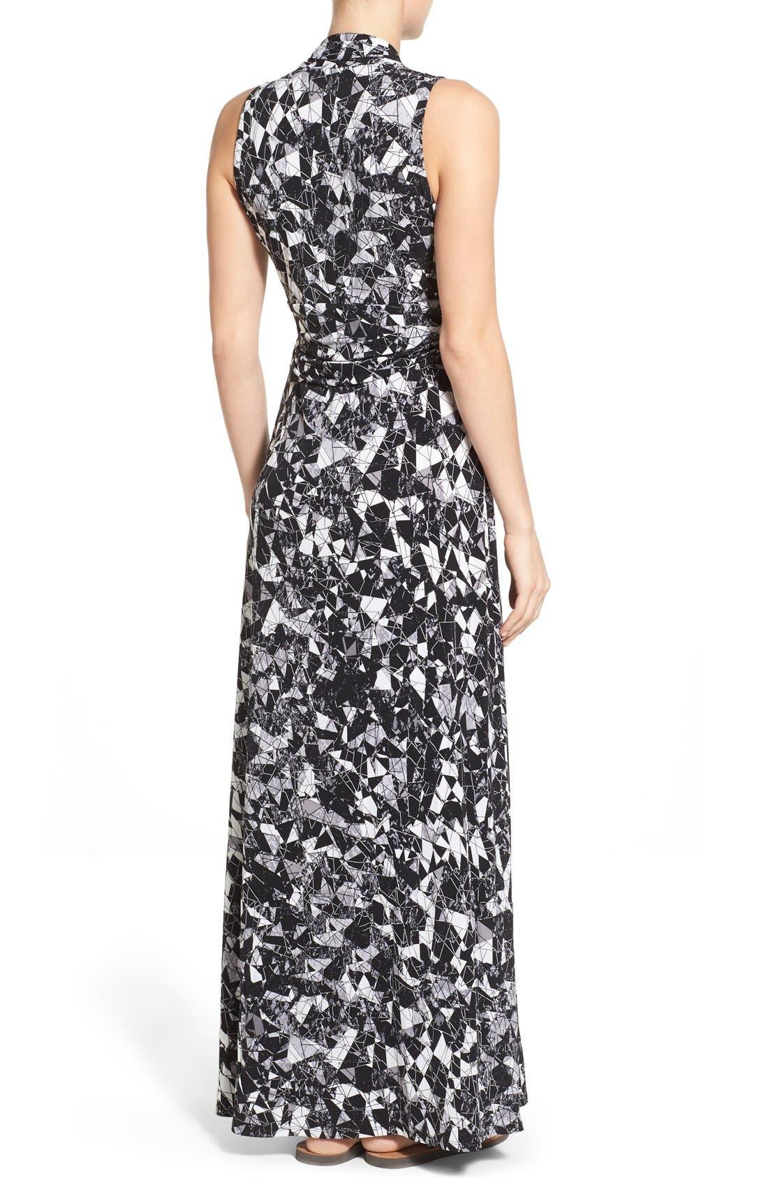 Alternate Image 2  - Vince Camuto Print Jersey Cutaway Shoulder Maxi Dress (Petite)