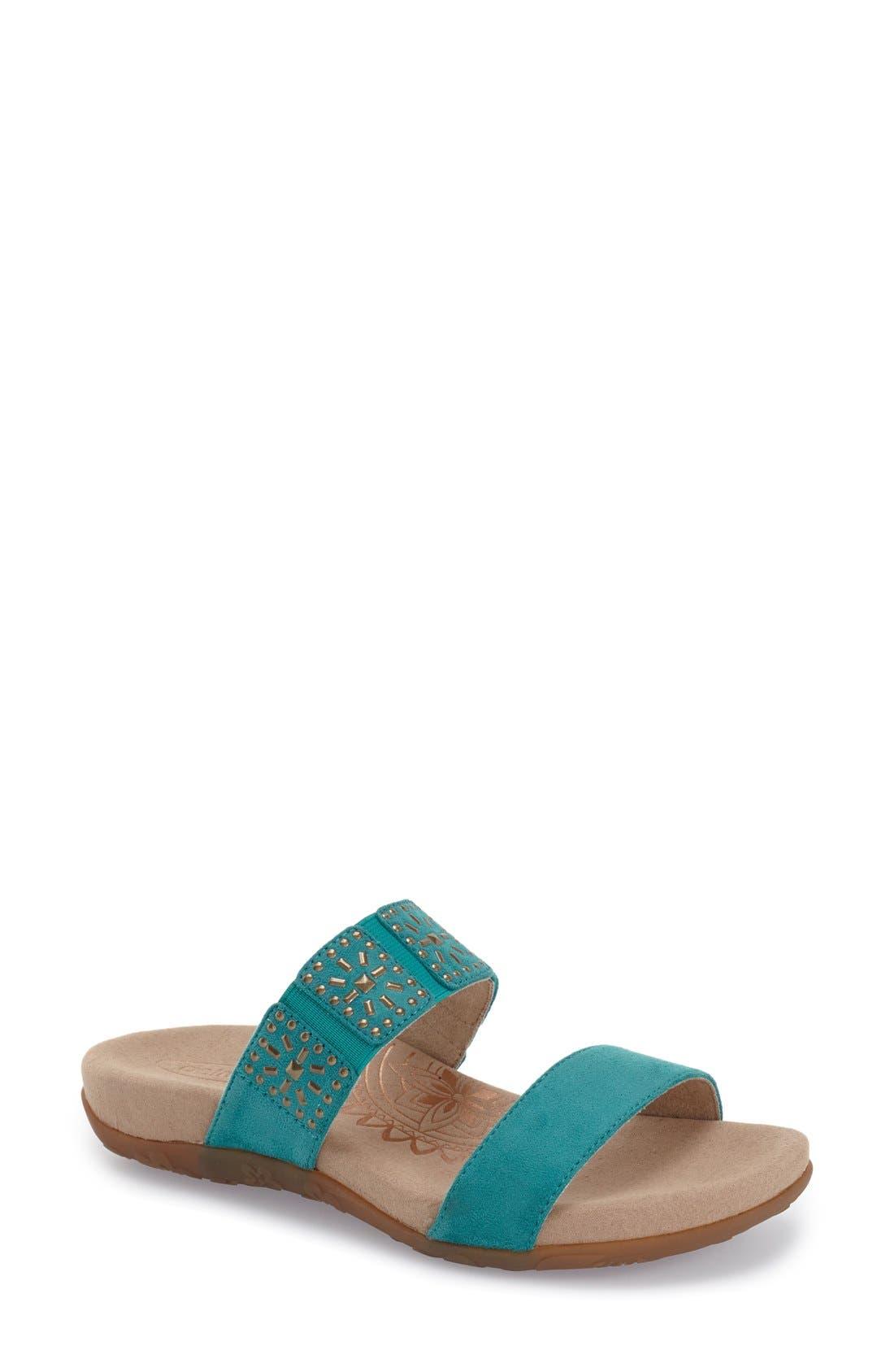 Aetrex 'Macy' Double Band Slide Sandal (Women)