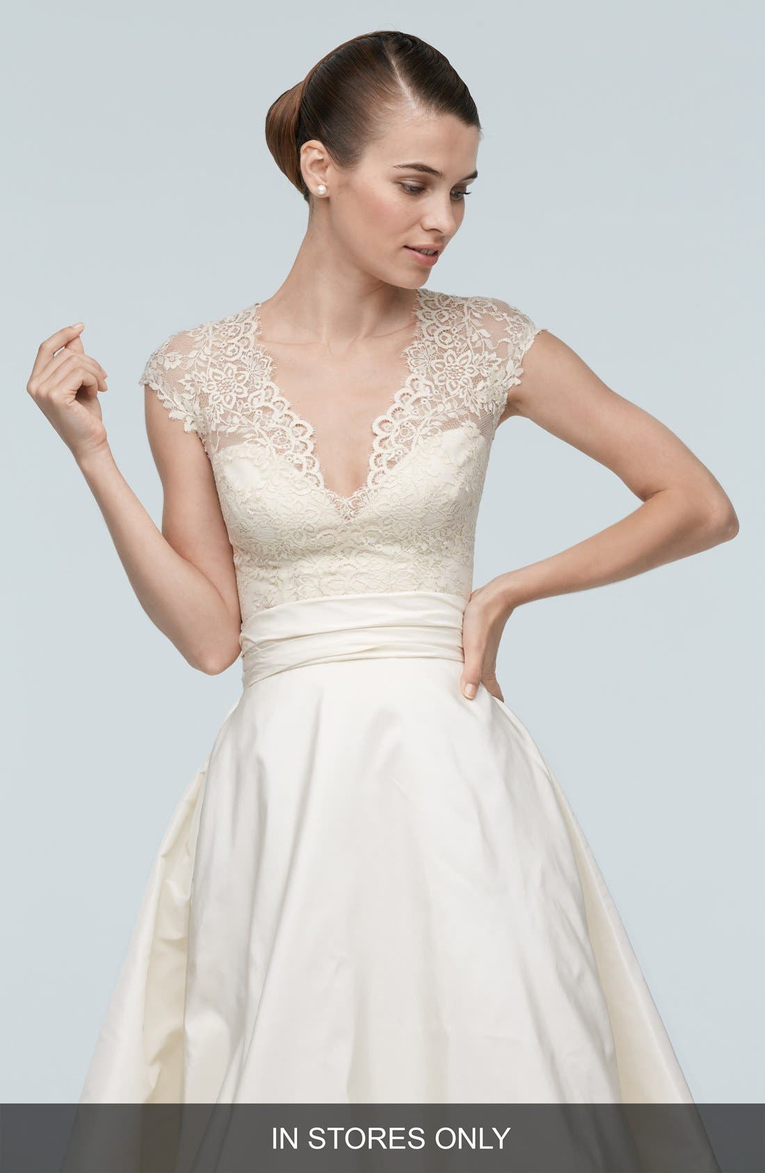 Alternate Image 1 Selected - Watters Anais Cap Sleeve Lace V-Neck Top
