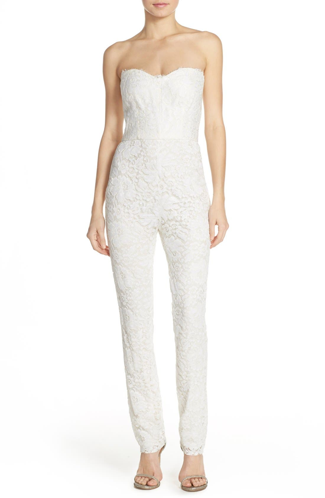 Monique Lhuillier Ready to Wed Strapless Chantilly Lace Jumpsuit,                         Main,                         color, Silk White