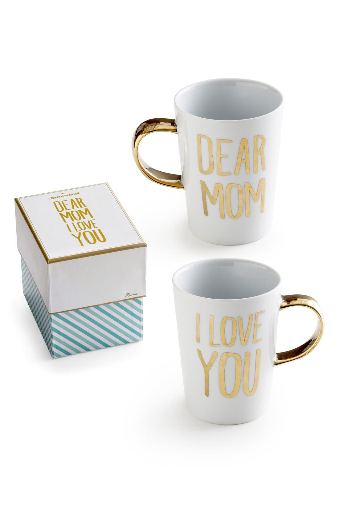 'Dear Mom I Love You' Porcelain Coffee Mug,                             Main thumbnail 1, color,                             White/ Gold