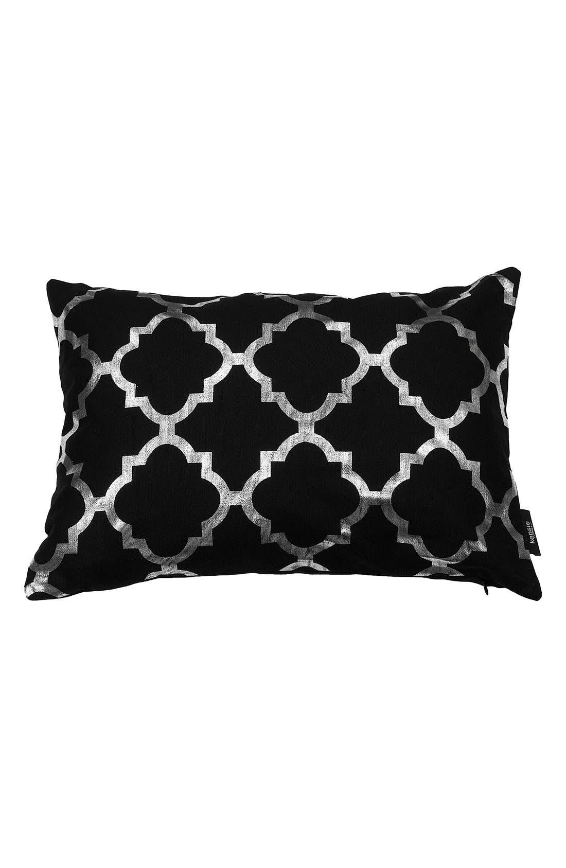 'Holly' Metallic Lattice Pillow,                             Main thumbnail 1, color,                             Black/ Silver