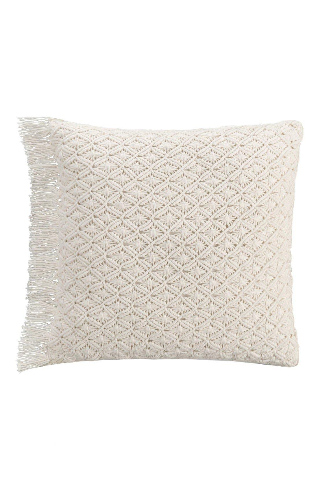 'Lace Medallion' Crochet Pillow,                         Main,                         color, Taupe