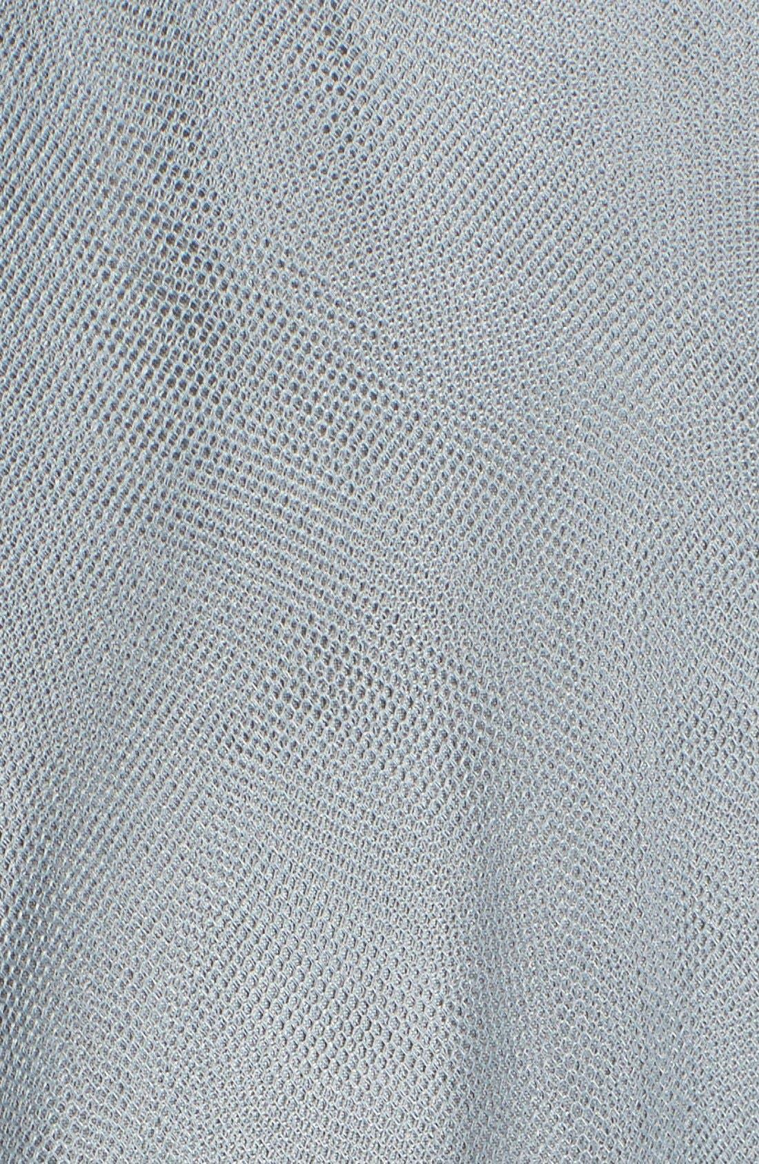 Back Cutout Pleat Tulle Gown,                             Alternate thumbnail 5, color,                             Sea