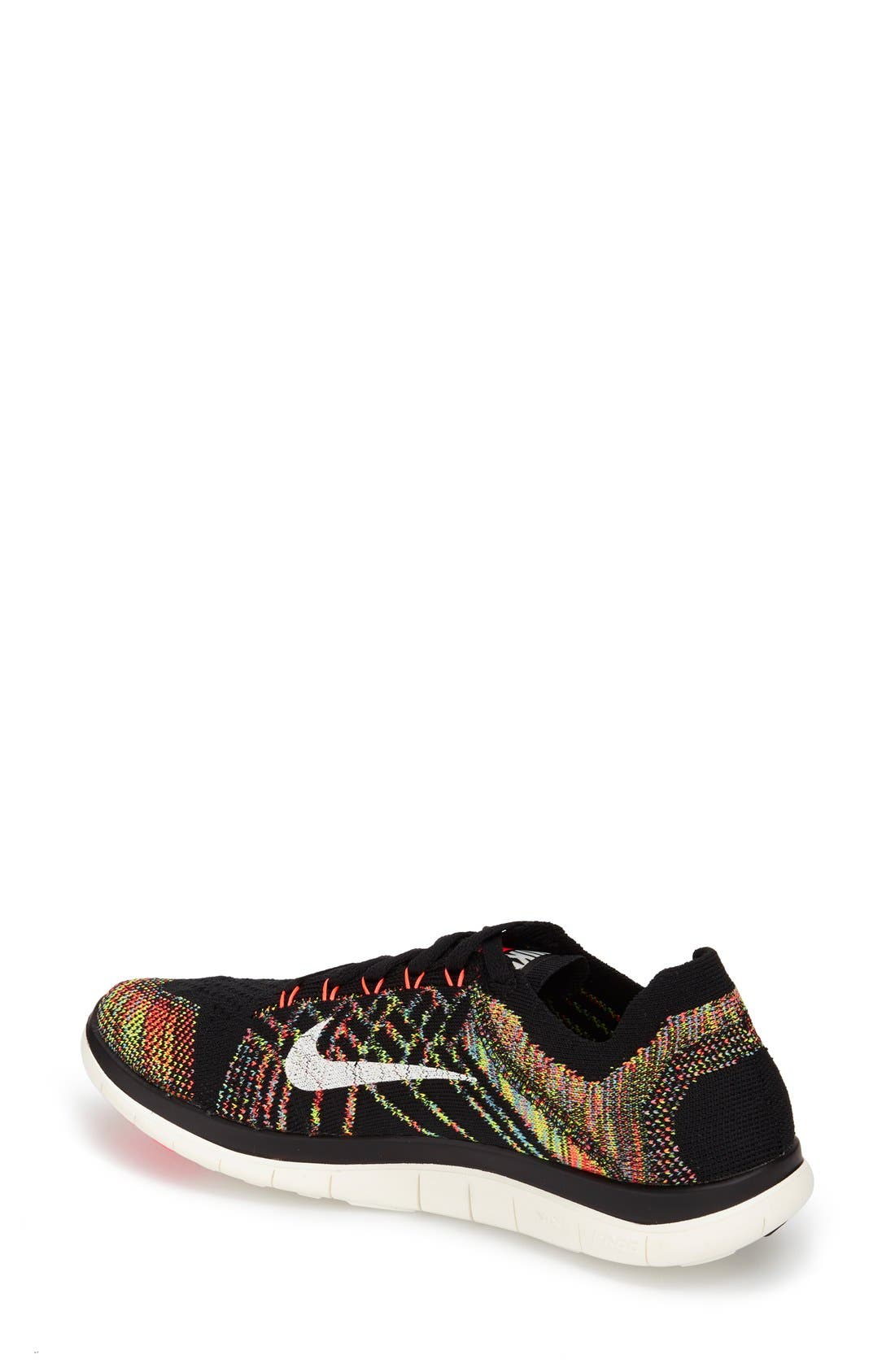 'Free 4.0 Flyknit' Running Shoe,                             Alternate thumbnail 2, color,                             Black/ Orange/ Blue