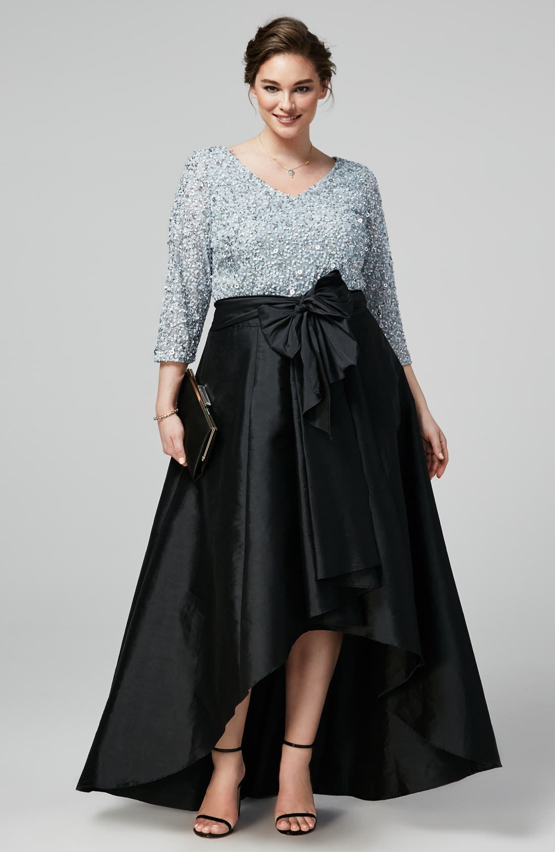 Exclusively chic Adrianna Papell Sequin Top Taffeta Skirt Plus Size