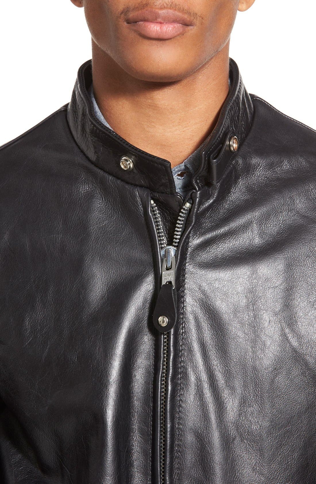 Alternate Image 5  - Schott NYC 'Casual Café Racer' Slim Fit Leather Jacket