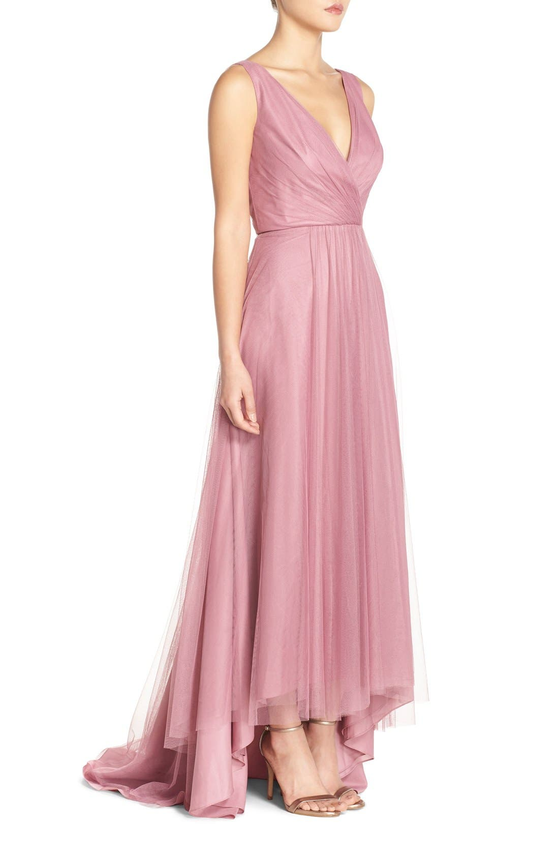 Pleat Tulle V-Neck High/Low Gown,                             Alternate thumbnail 5, color,                             Cerise