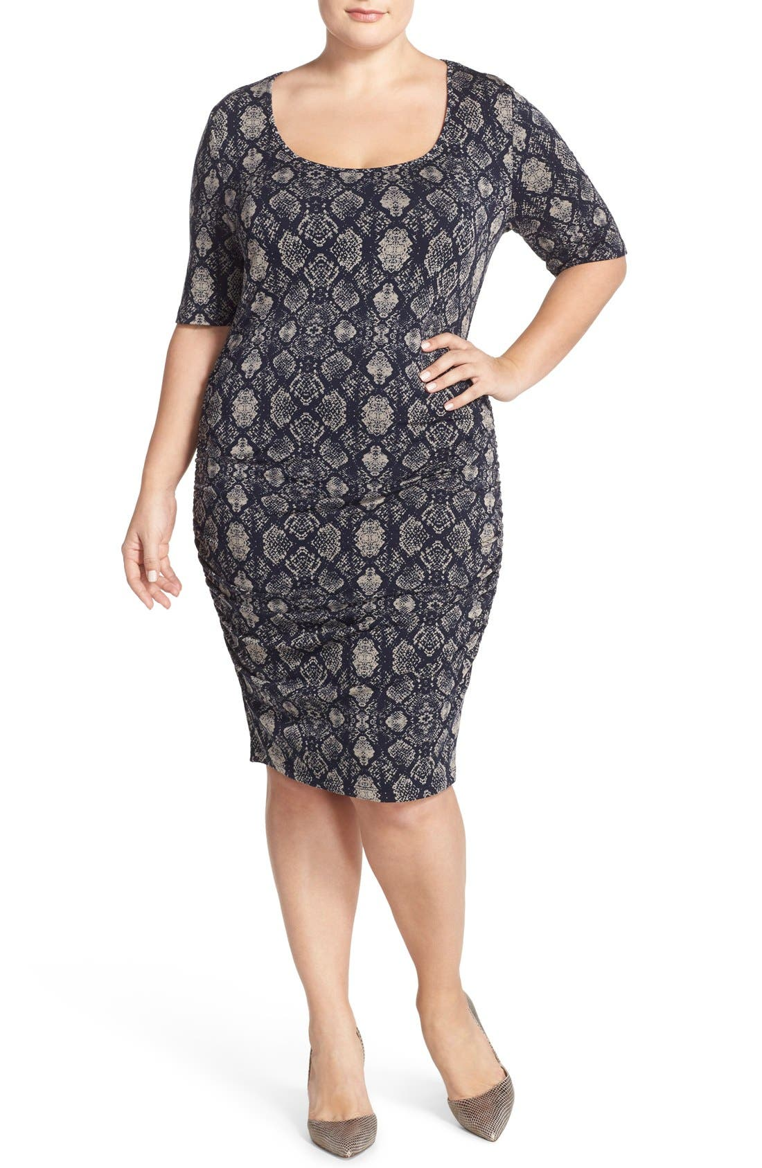 TART 'Jasmin' Back Cutout Snakeskin Print French Terry Body-Con Dress in Graphic Python