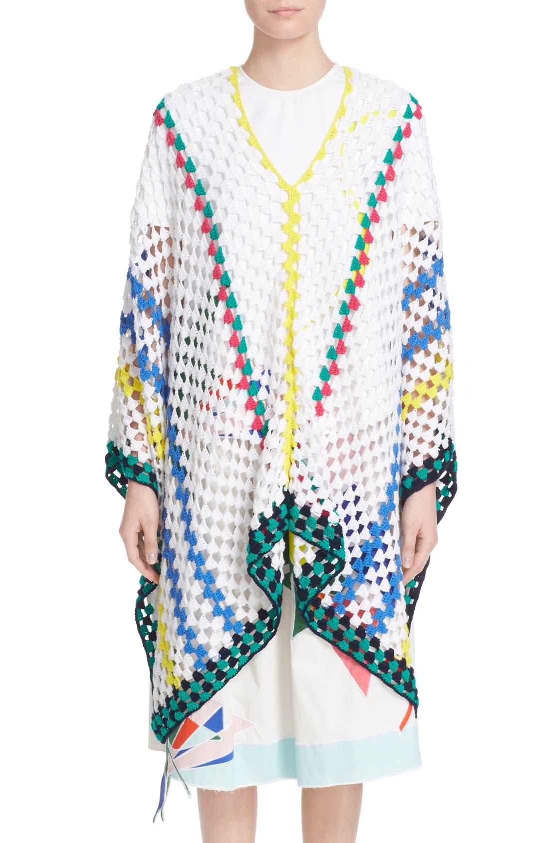 Alternate Image 1 Selected - Mira Mikati Stripe Crochet Poncho
