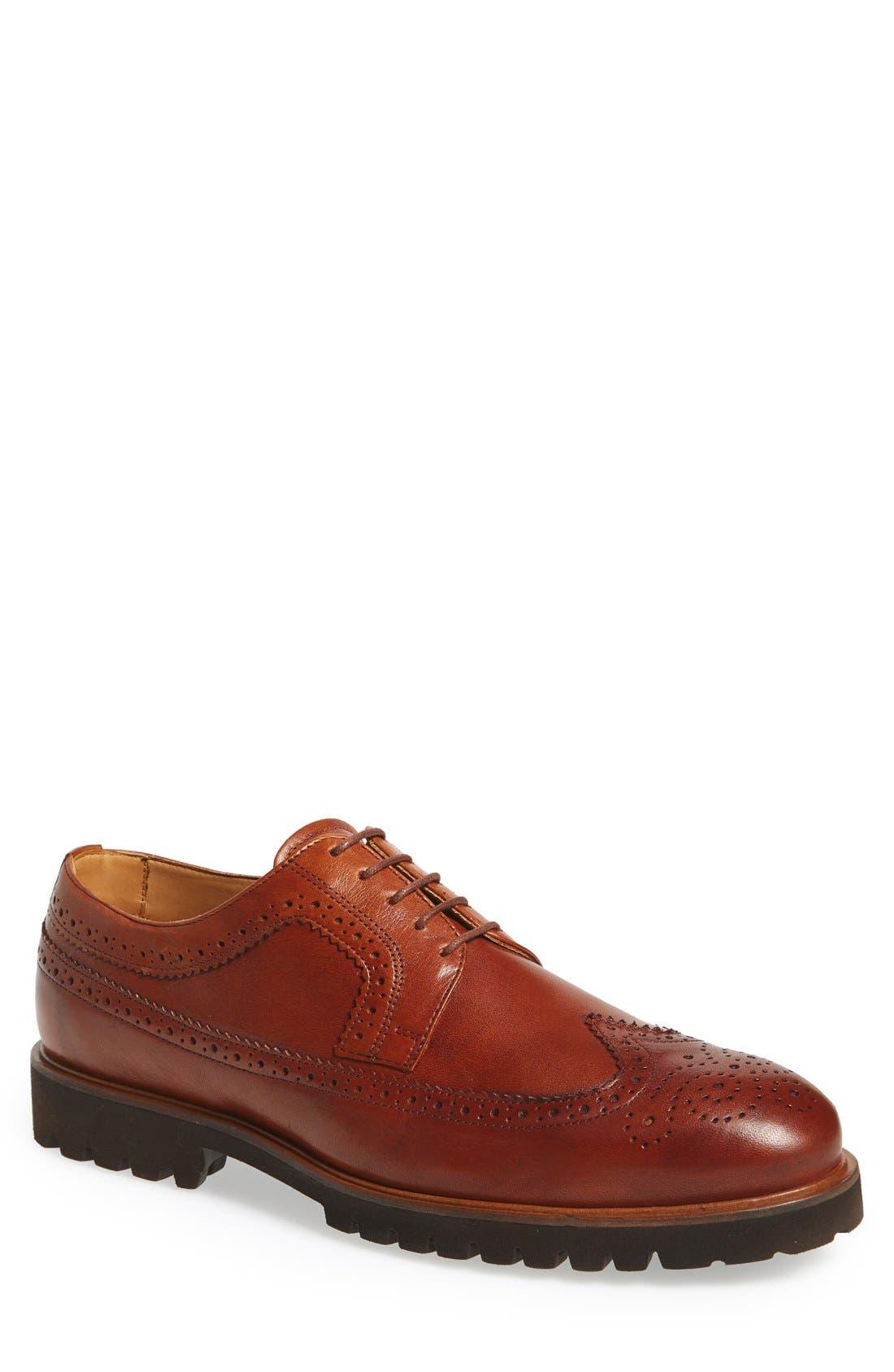 'Loven' Wingtip Derby,                             Main thumbnail 1, color,                             Cognac Leather