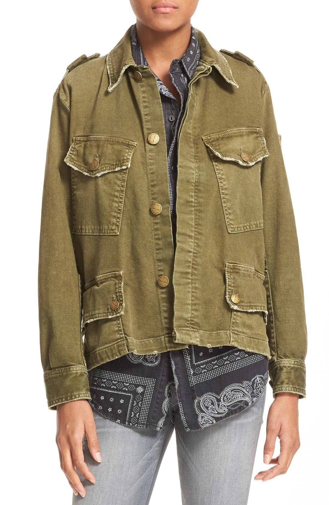 'Slanted Pocket' Army Jacket,                         Main,                         color, Army Green