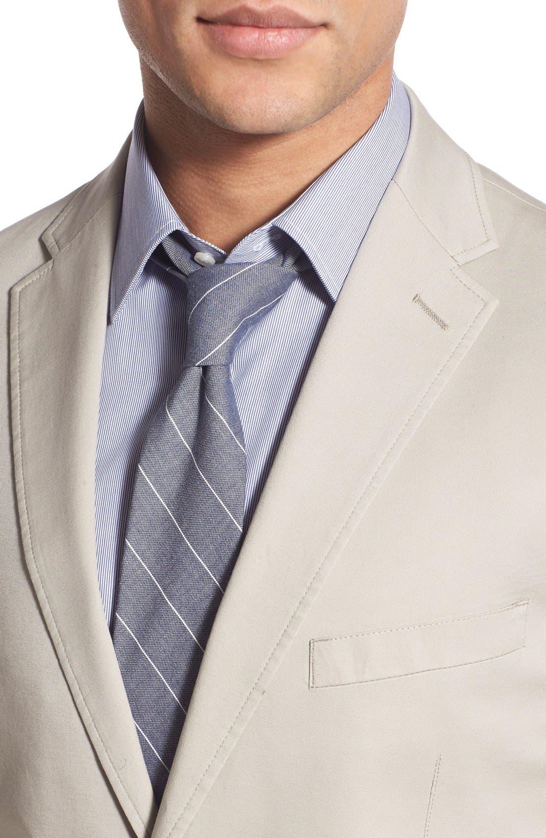 Trim Fit Stretch Cotton Blazer,                             Alternate thumbnail 4, color,                             Tan