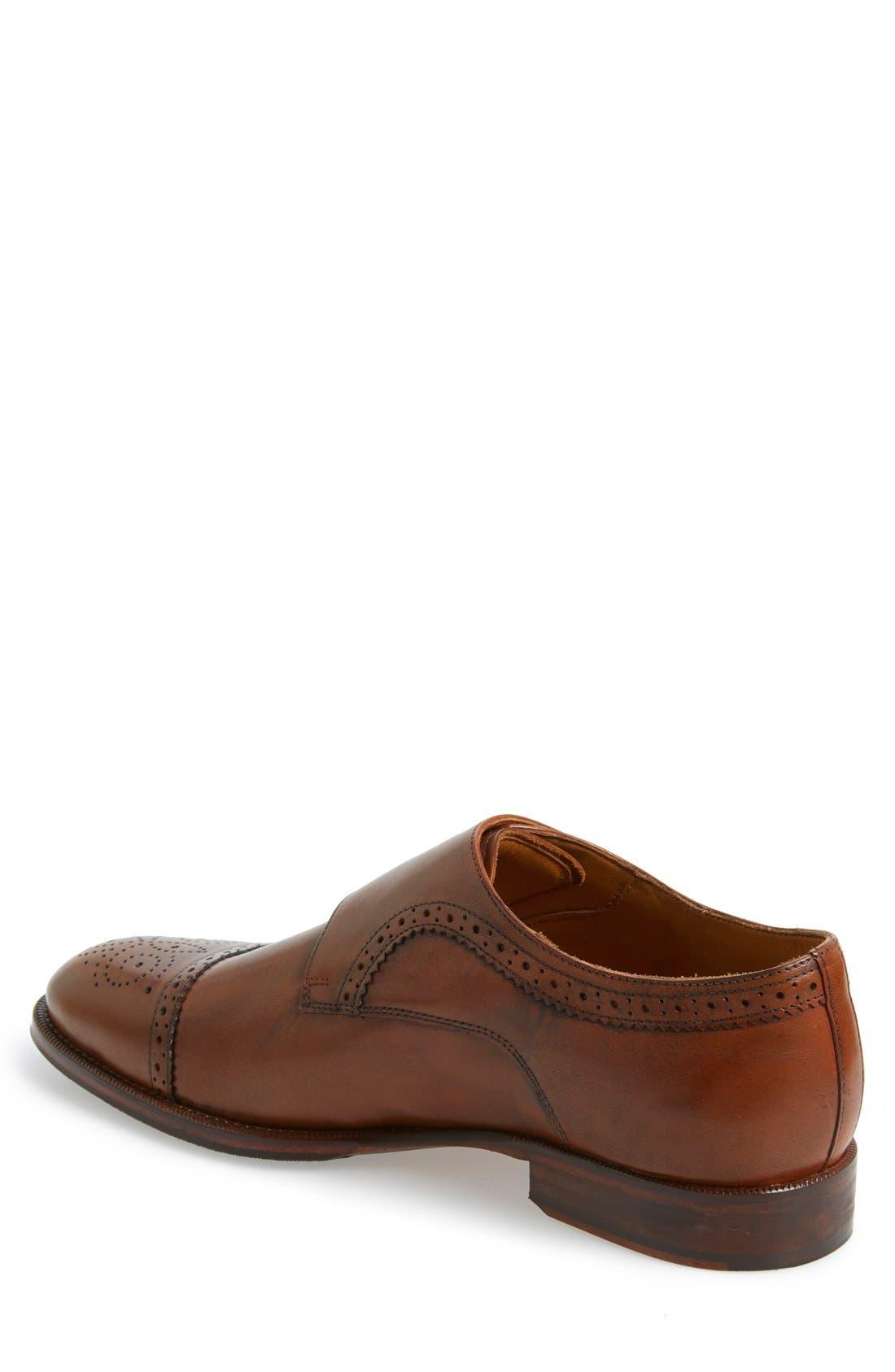 'Briant' Double Monk Strap Shoe,                             Alternate thumbnail 2, color,                             Cognac Leather