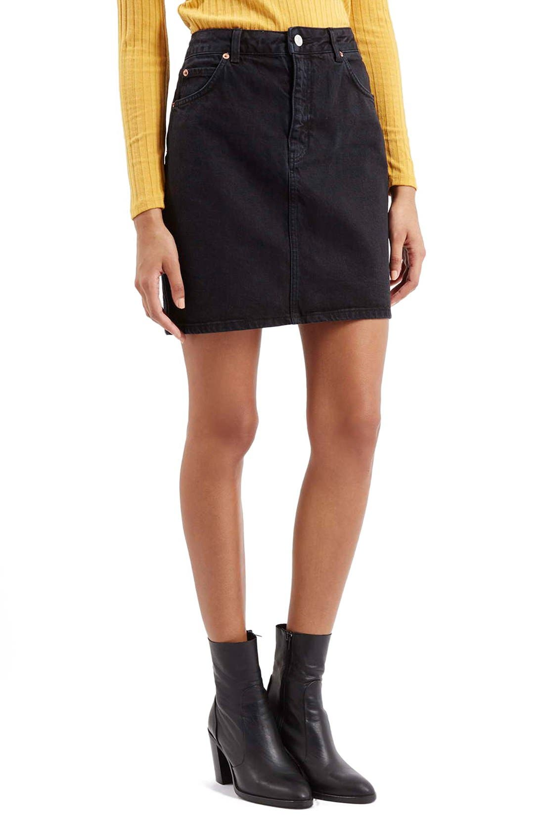 Alternate Image 1 Selected - Topshop Denim A-Line Skirt