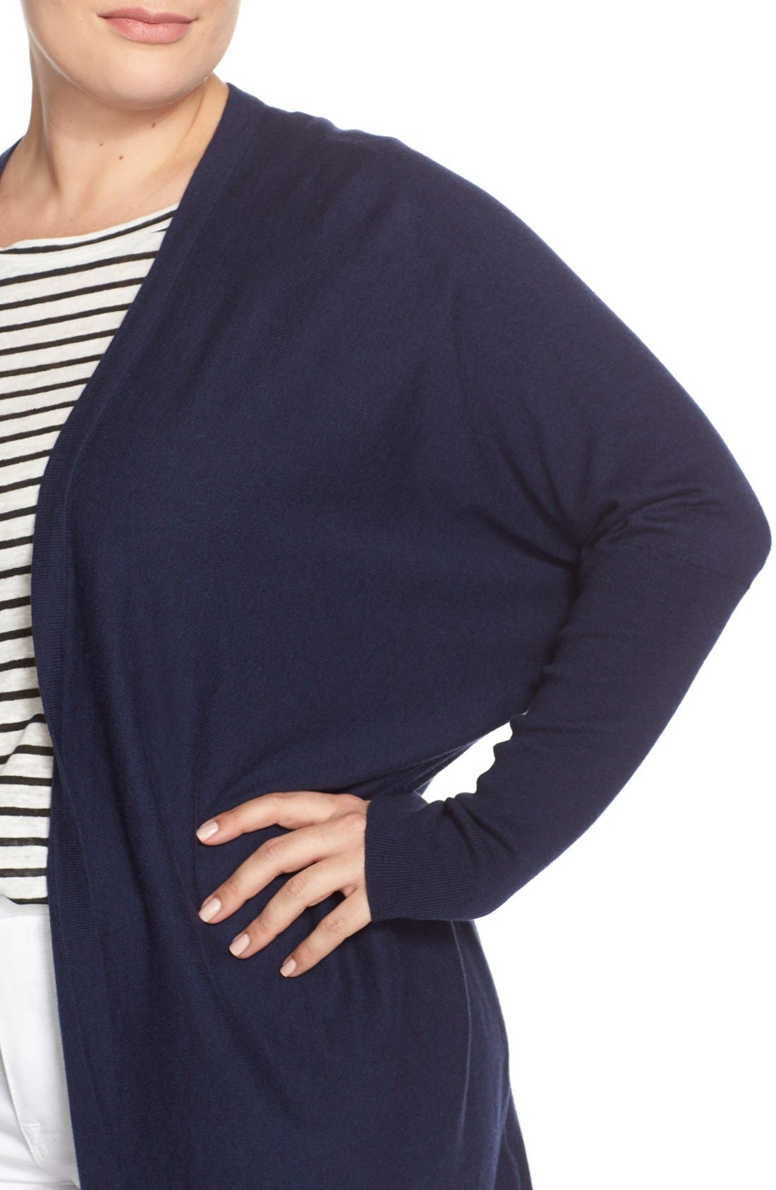 'Darma' Cotton & Cashmere Knit Cardigan,                             Alternate thumbnail 4, color,                             Melange Navy