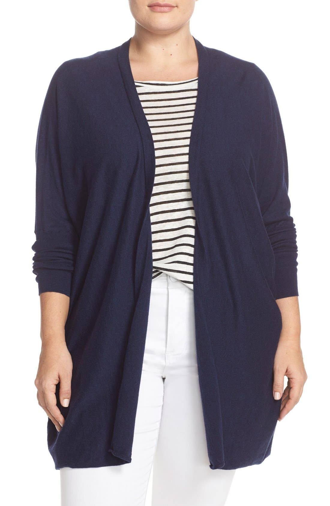 'Darma' Cotton & Cashmere Knit Cardigan,                             Main thumbnail 1, color,                             Melange Navy