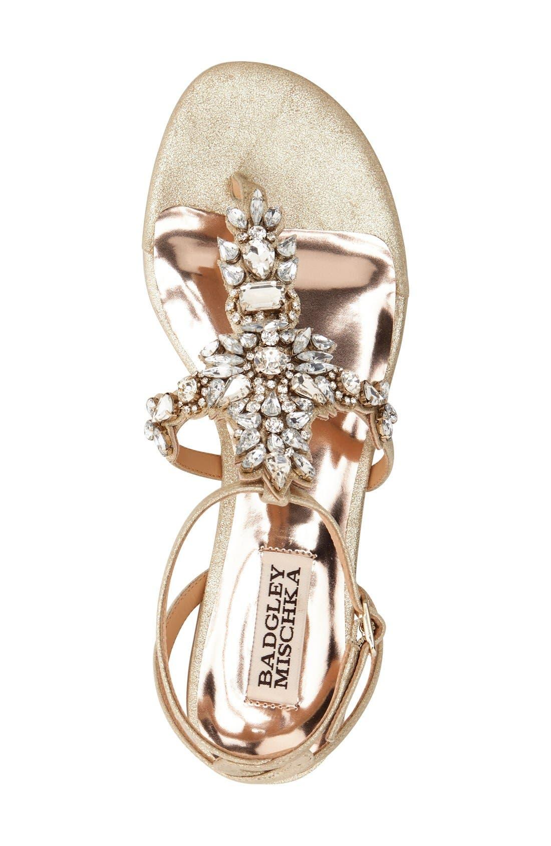 Alternate Image 3  - Badgley Mischka 'Cara' Crystal Embellished Flat Sandal (Women)