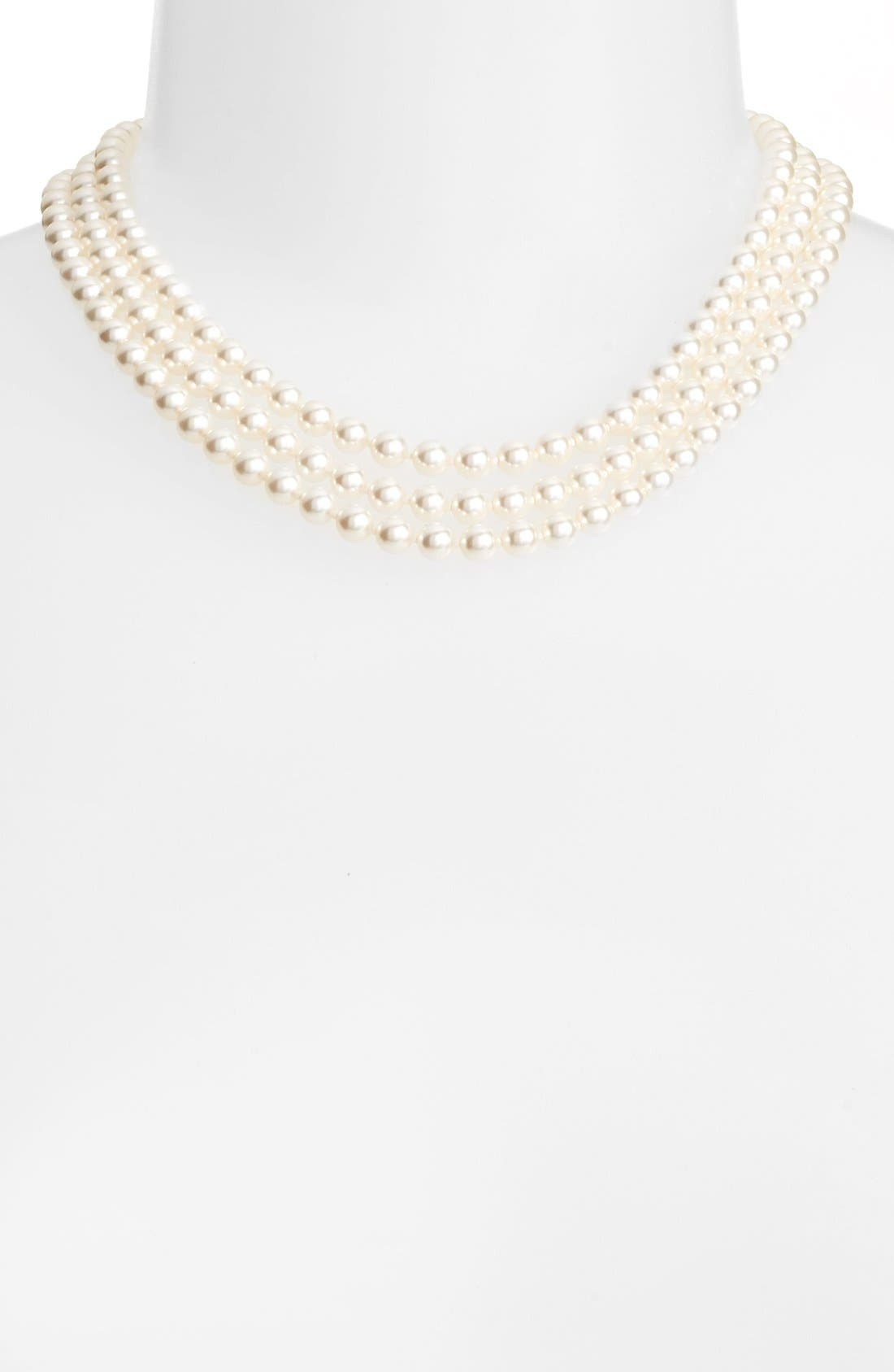 Multistrand Imitation Pearl Necklace,                         Main,                         color, Ivory