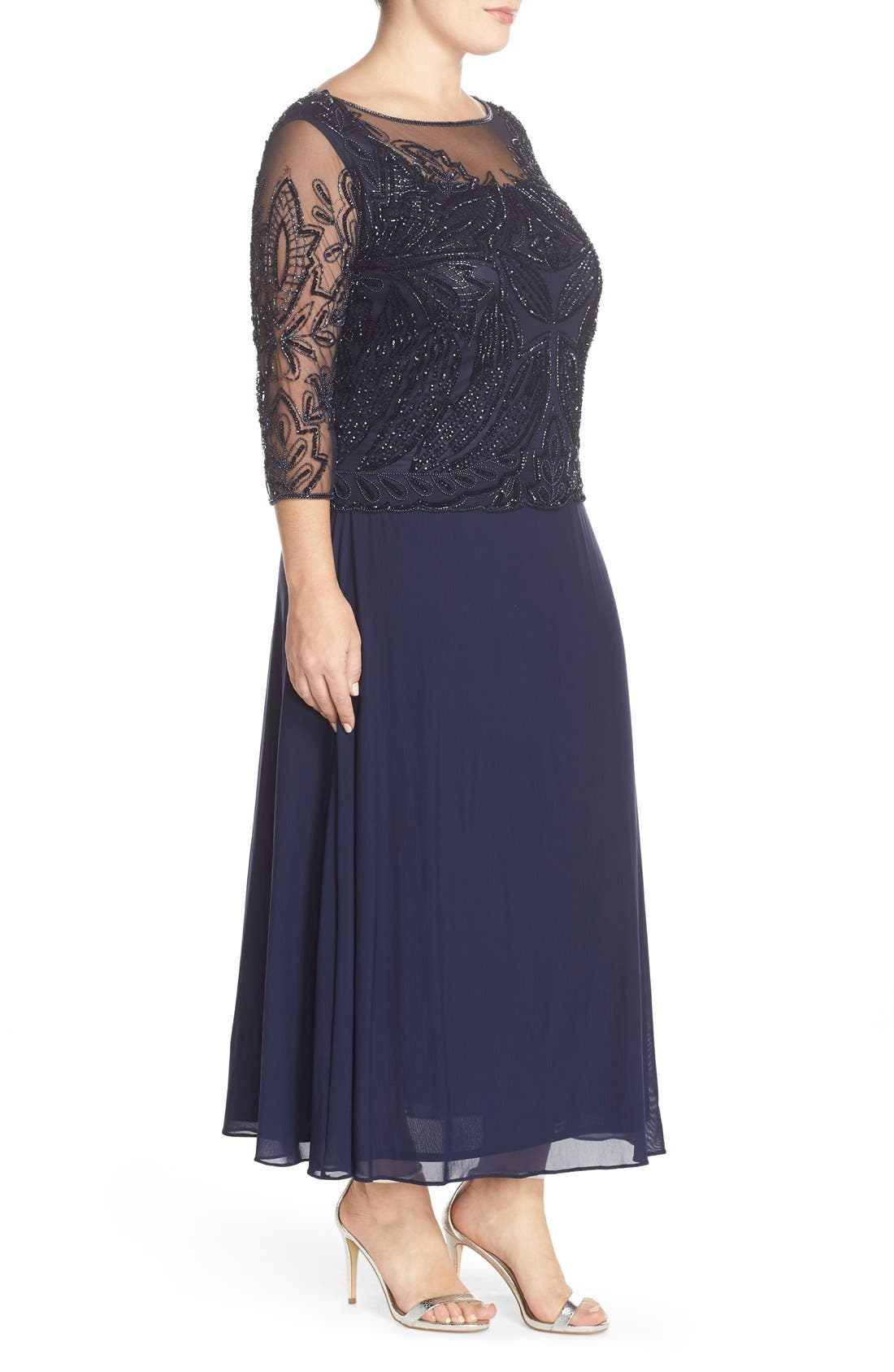 Illusion Neck Beaded A-Line Gown,                             Alternate thumbnail 3, color,                             Navy