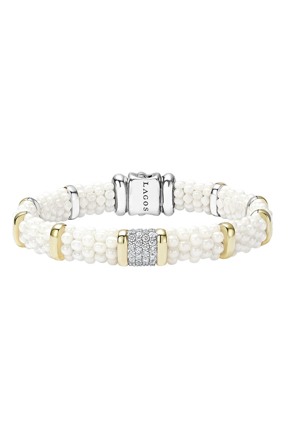 'White Caviar' Diamond Station Bracelet,                             Main thumbnail 1, color,                             White Caviar